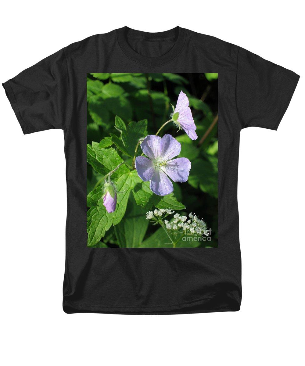 Wildflower Men's T-Shirt (Regular Fit) featuring the photograph Wild Geranium by Ann Horn