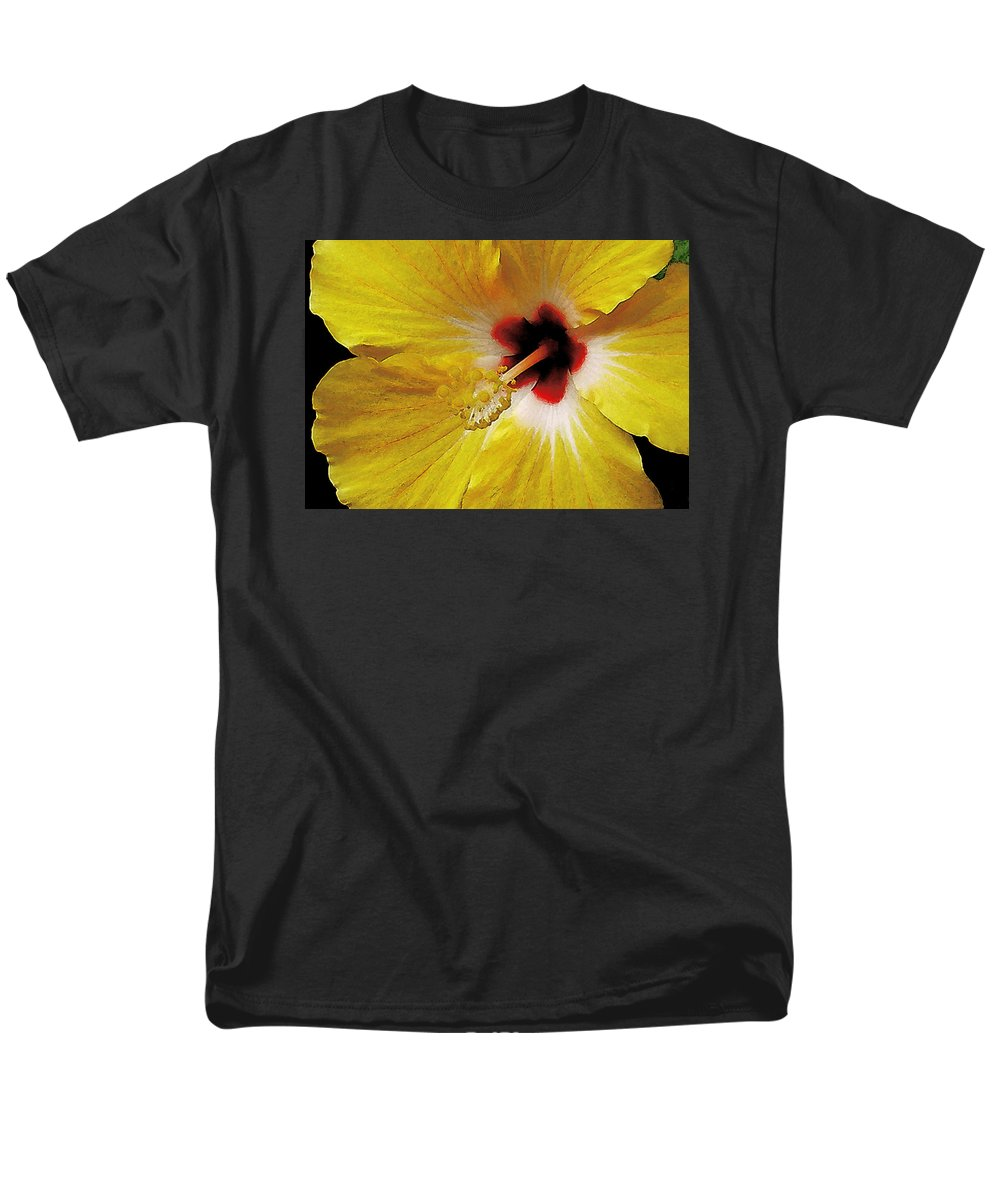 Hawaii Iphone Cases Men's T-Shirt (Regular Fit) featuring the photograph Yellow Hibiscus With Red Center by James Temple