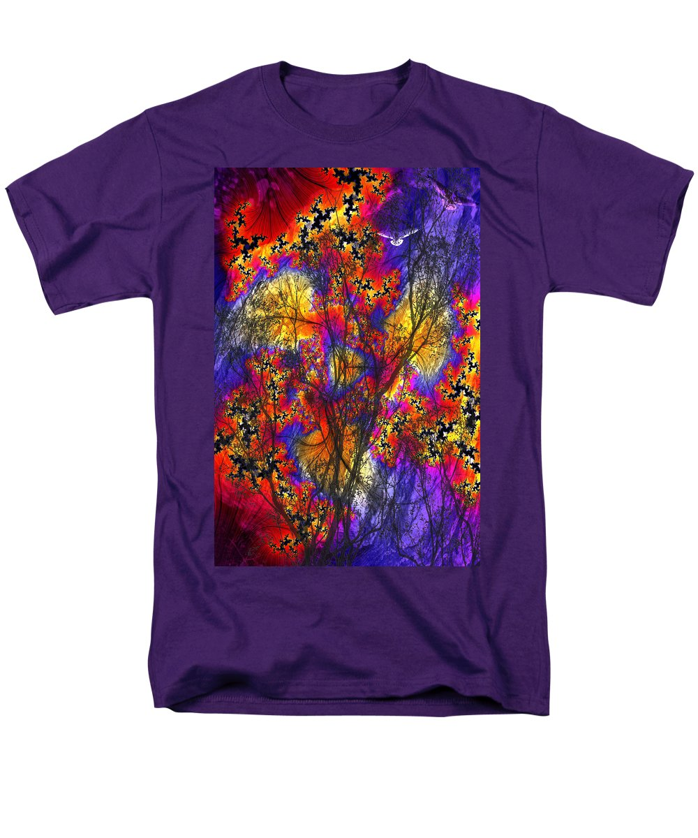 Forest Fire Men's T-Shirt (Regular Fit) featuring the digital art Forest Fire by Lisa Yount