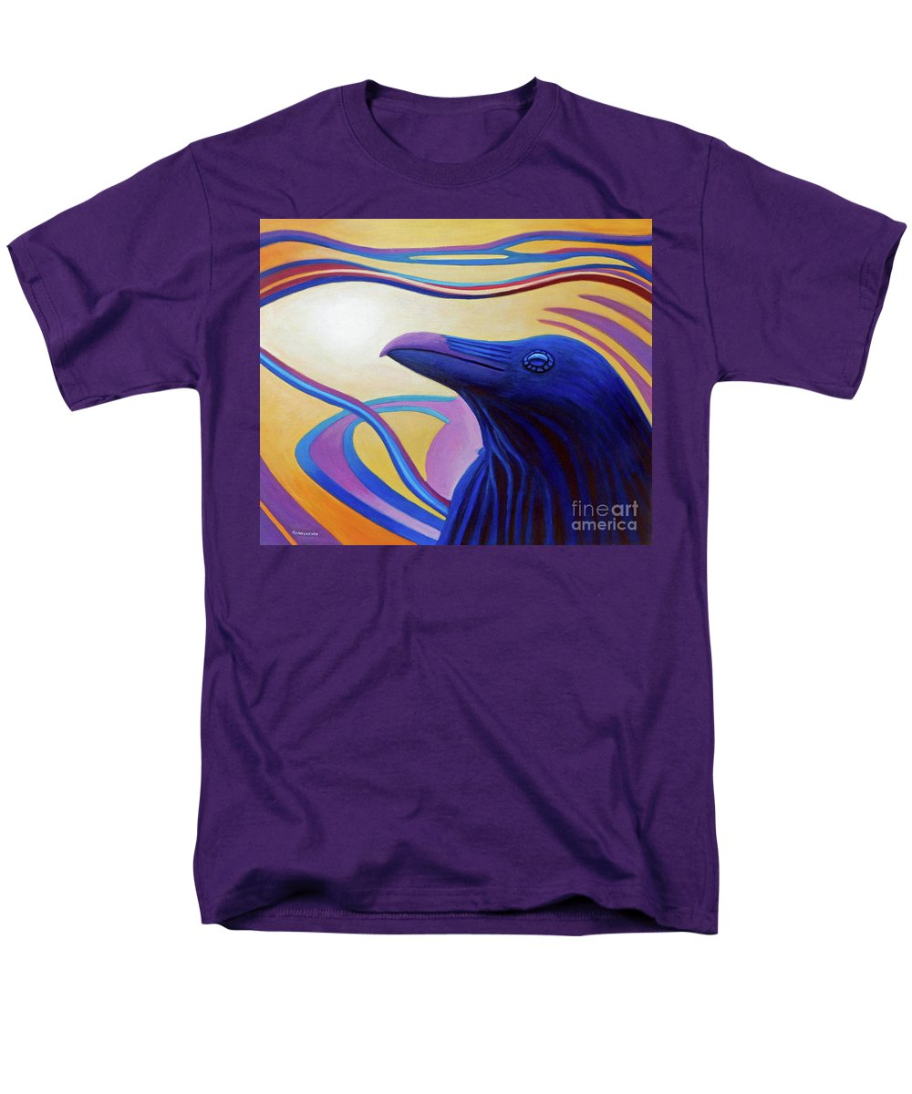 Raven Men's T-Shirt (Regular Fit) featuring the painting Astral Raven by Brian Commerford