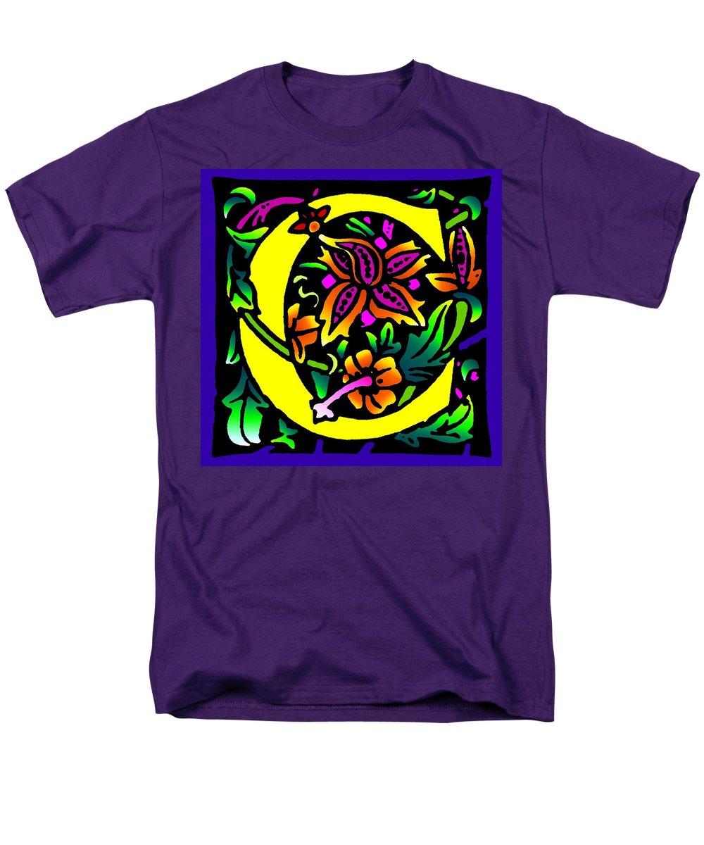 Alphabet Men's T-Shirt (Regular Fit) featuring the digital art C in Yellow by Kathleen Sepulveda