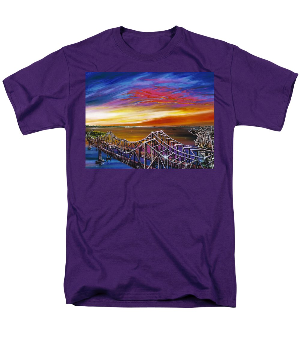 Clouds Men's T-Shirt (Regular Fit) featuring the painting Cooper River Bridge by James Christopher Hill