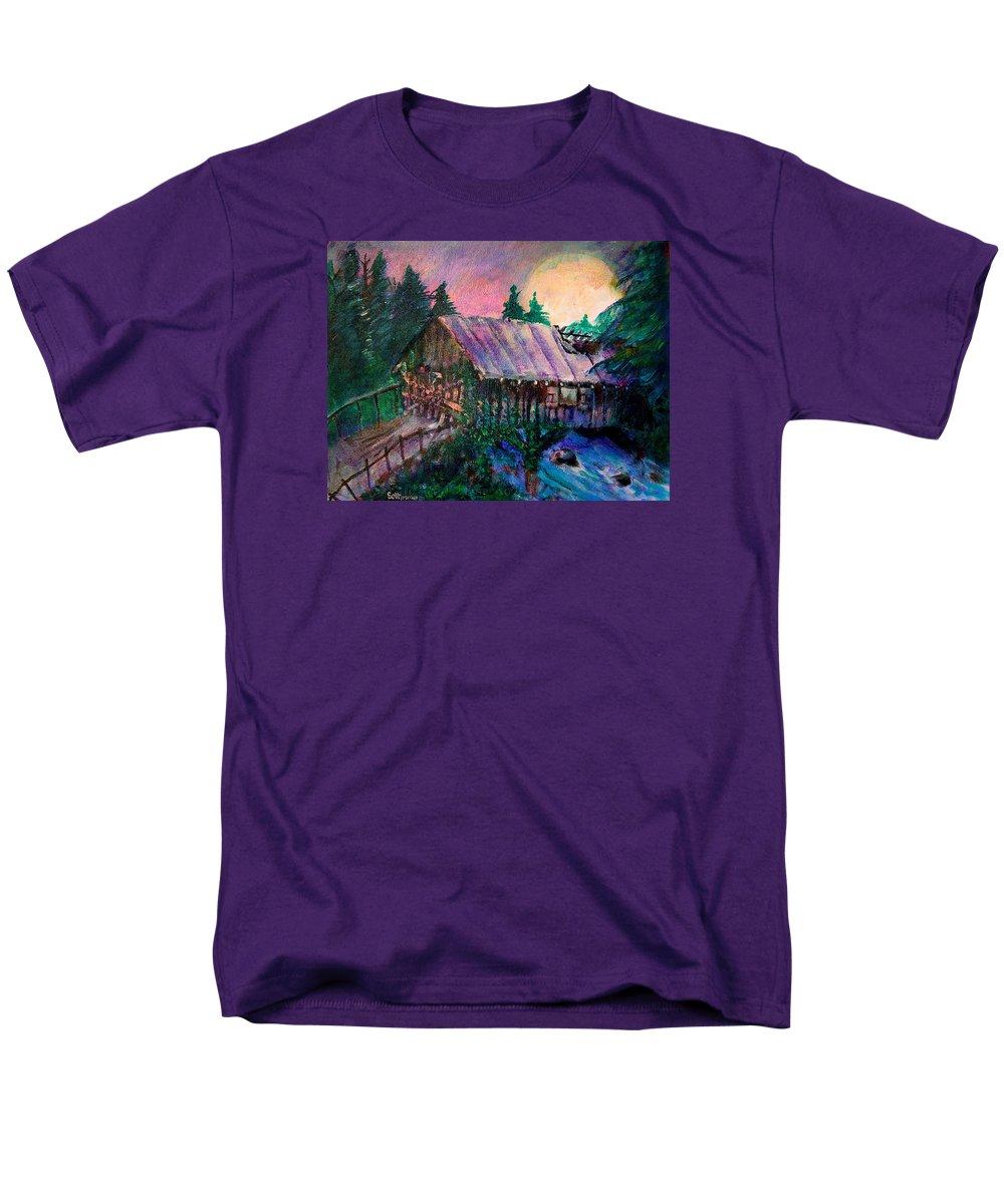 Dangerous Bridge Men's T-Shirt (Regular Fit) featuring the painting Dangerous Bridge by Seth Weaver