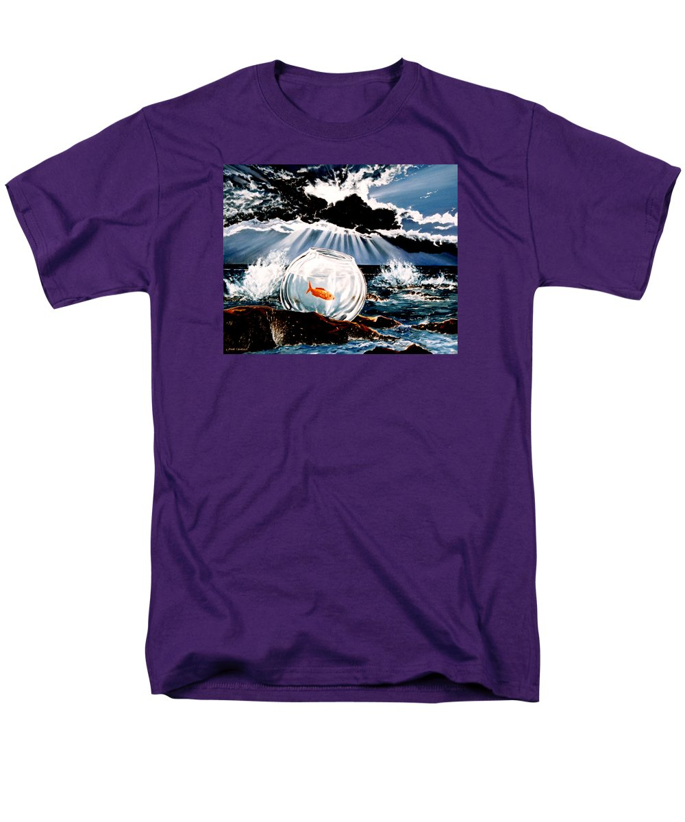 Surreal Men's T-Shirt (Regular Fit) featuring the painting Wish You Were Here by Mark Cawood