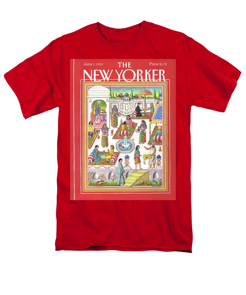 Dining Men's T-Shirt (Regular Fit) featuring the painting New Yorker June 1st, 1992 by Bob Knox