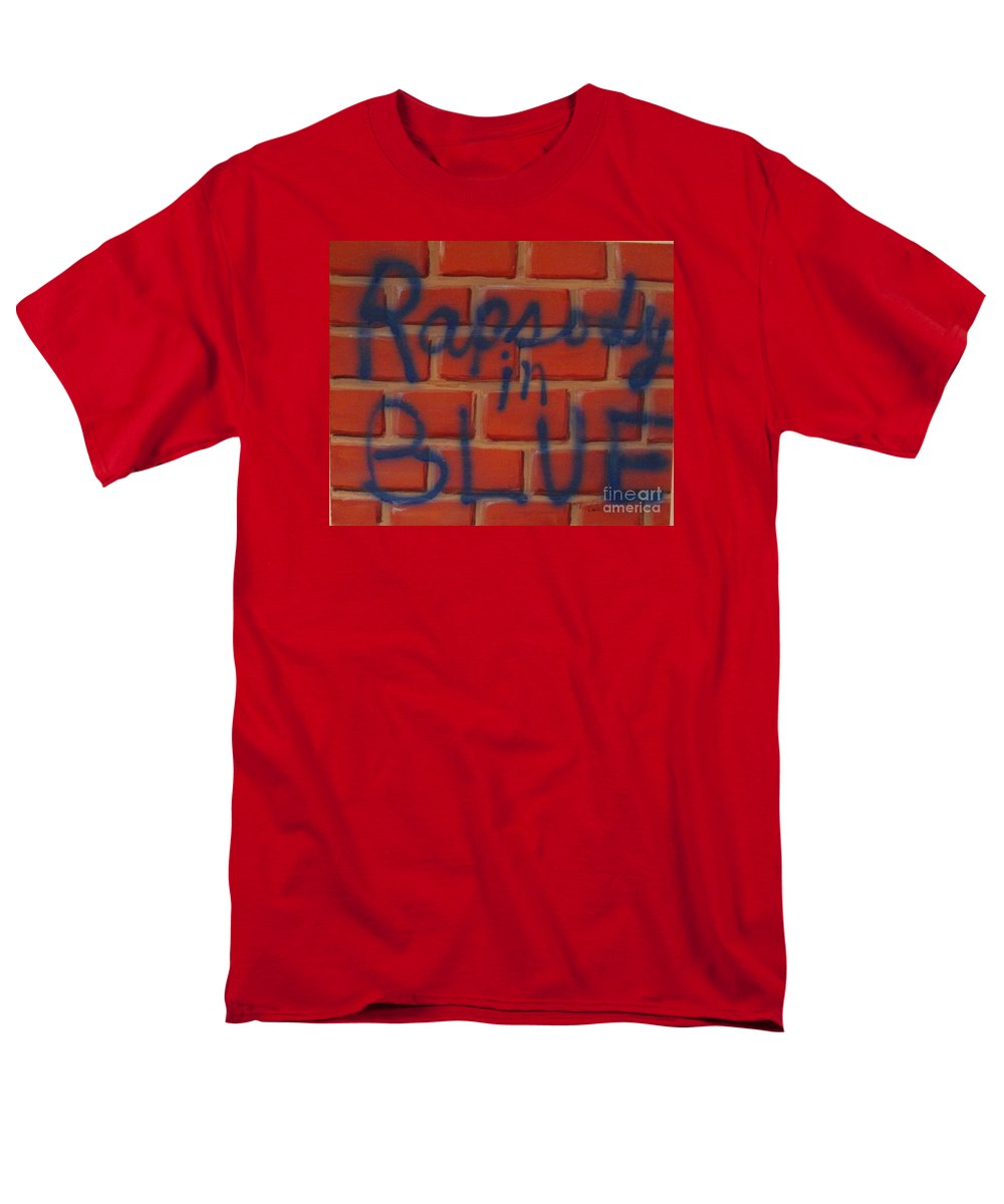 Abstract Men's T-Shirt (Regular Fit) featuring the painting Rapsody in Blue by Laurie Morgan