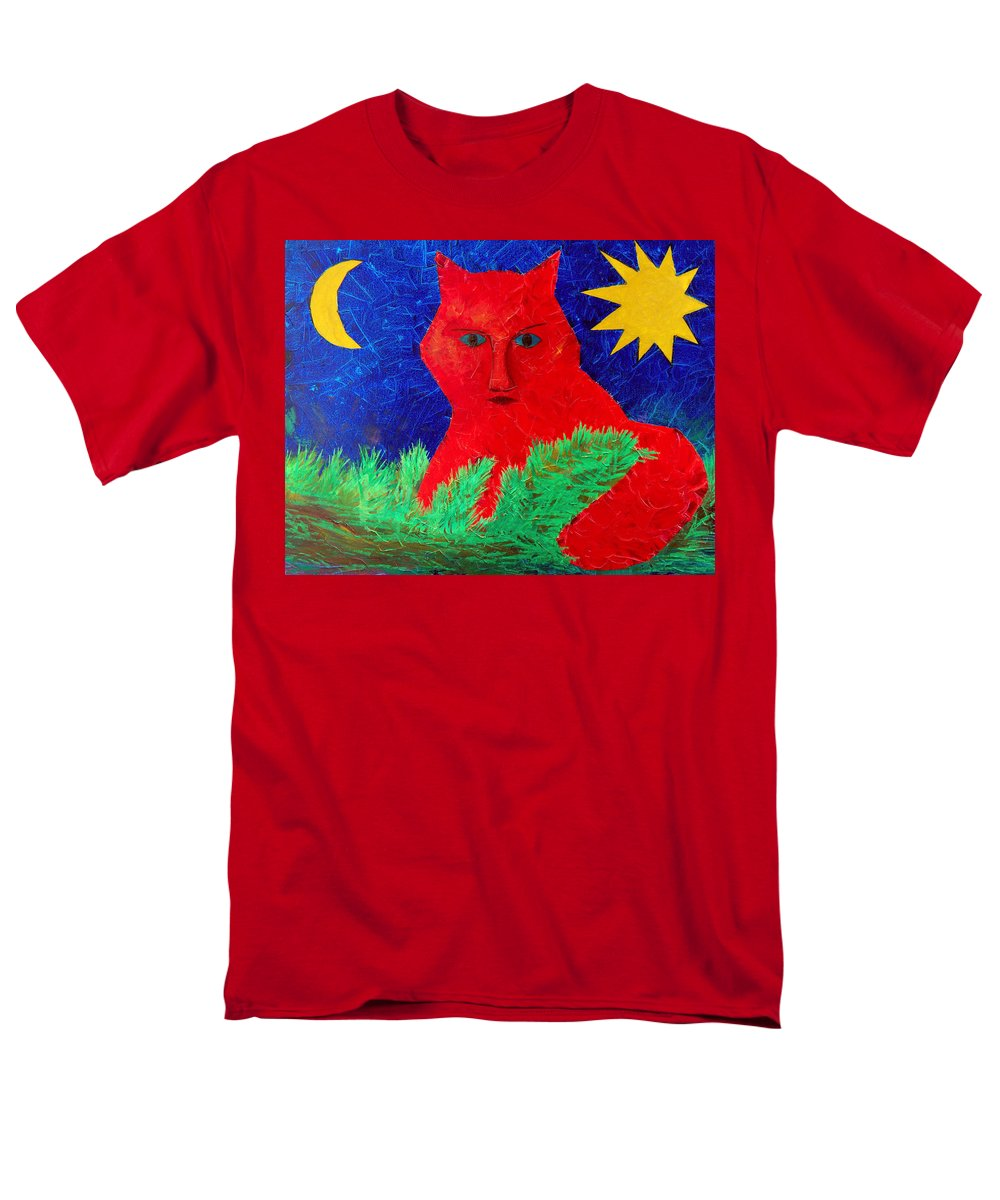Fantasy Men's T-Shirt (Regular Fit) featuring the painting Red by Sergey Bezhinets