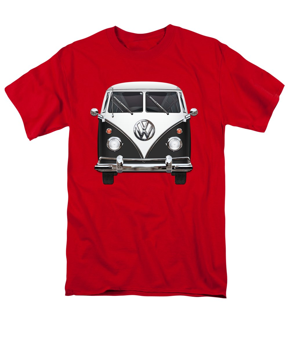 'volkswagen Type 2' Collection By Serge Averbukh Men's T-Shirt (Regular Fit) featuring the photograph Volkswagen Type 2 - Black And White Volkswagen T 1 Samba Bus On Red by Serge Averbukh