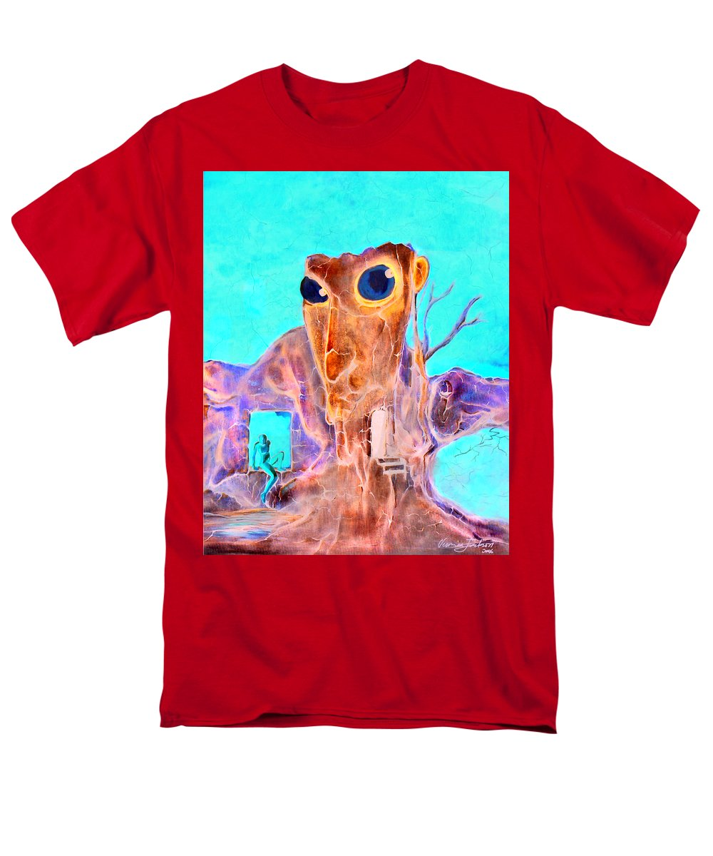 Surreal Color Eyes Structure Men's T-Shirt (Regular Fit) featuring the painting Another few seconds in my head by Veronica Jackson