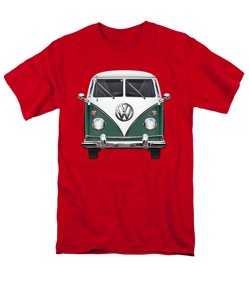 'volkswagen Type 2' Collection By Serge Averbukh Men's T-Shirt (Regular Fit) featuring the photograph Volkswagen Type 2 - Green And White Volkswagen T 1 Samba Bus Over Red Canvas by Serge Averbukh