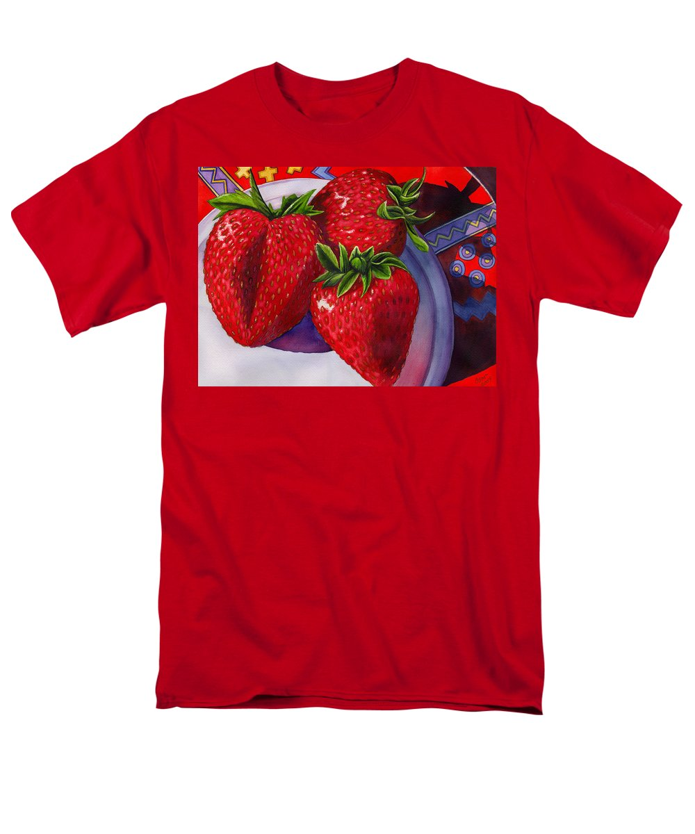 Strawberries Men's T-Shirt (Regular Fit) featuring the painting Berry Berry Berry Good by Catherine G McElroy