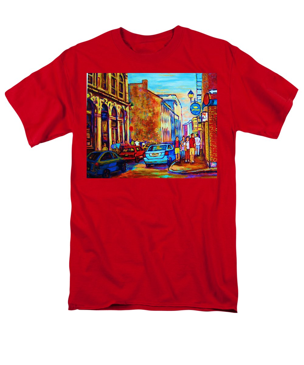 Montreal Men's T-Shirt (Regular Fit) featuring the painting Blue Cars at the Resto Bar by Carole Spandau