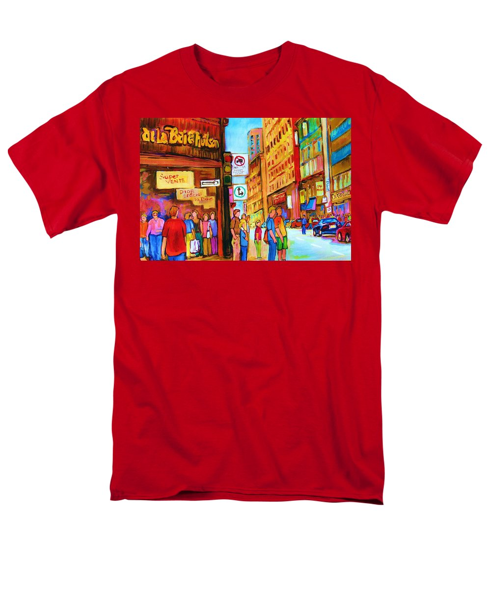 Cityscape Men's T-Shirt (Regular Fit) featuring the painting Downtown by Carole Spandau