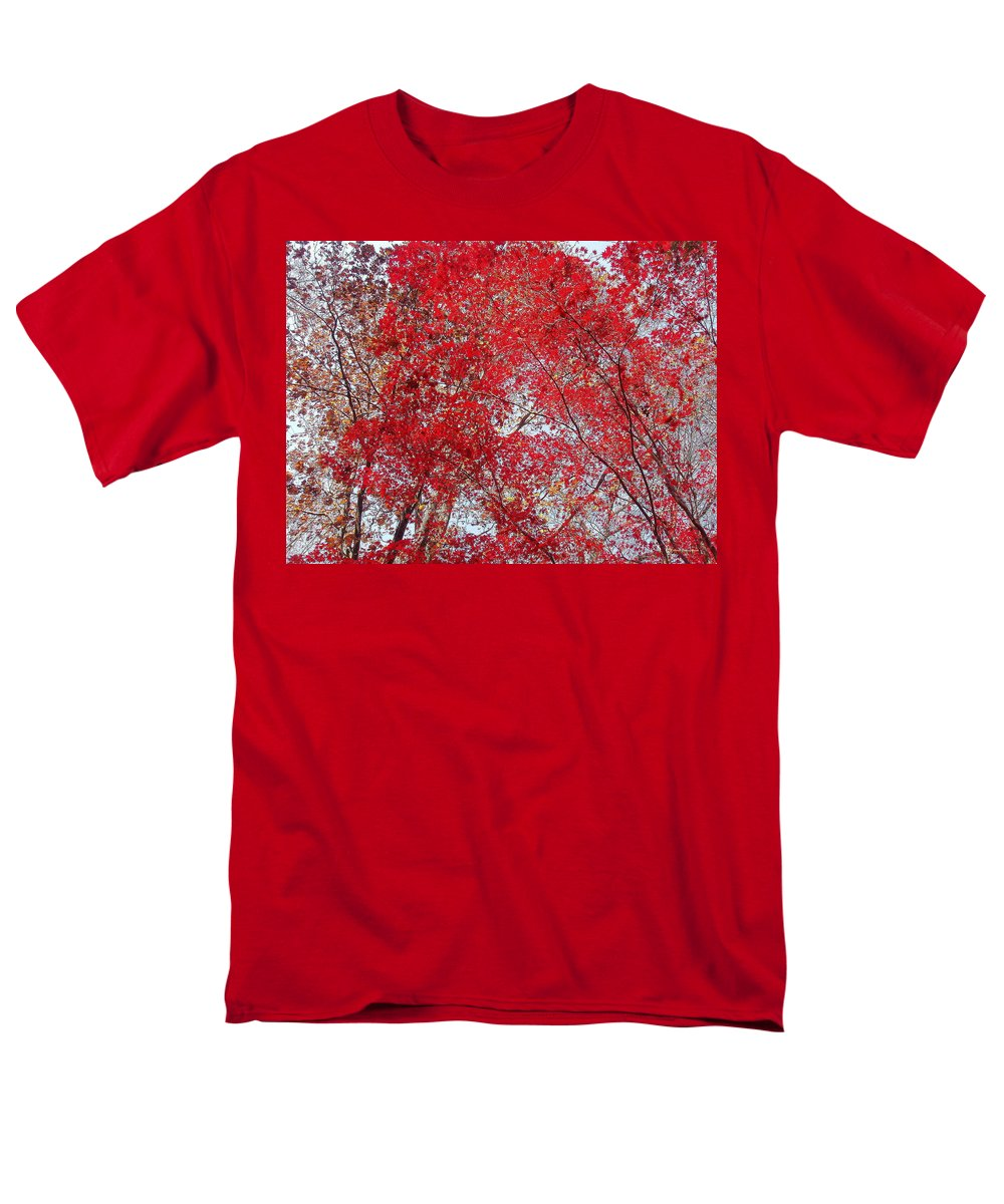 Leaves Men's T-Shirt (Regular Fit) featuring the photograph Fall Foilage by Deborah Crew-Johnson