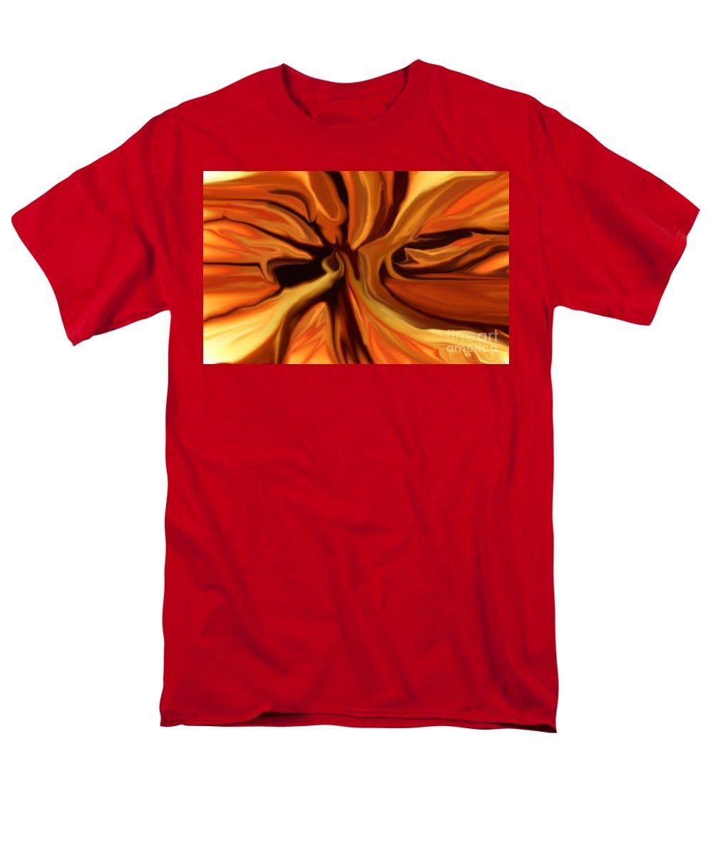 Abstract Men's T-Shirt (Regular Fit) featuring the digital art Fantasy in Orange by David Lane