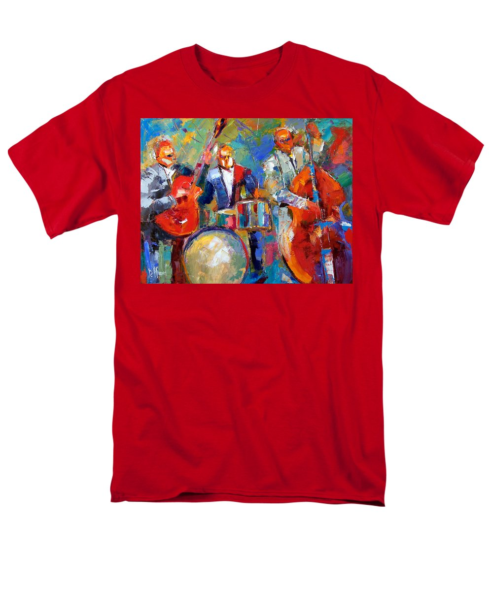 Jazz Painting Men's T-Shirt (Regular Fit) featuring the painting Guitar Drums and Bass by Debra Hurd