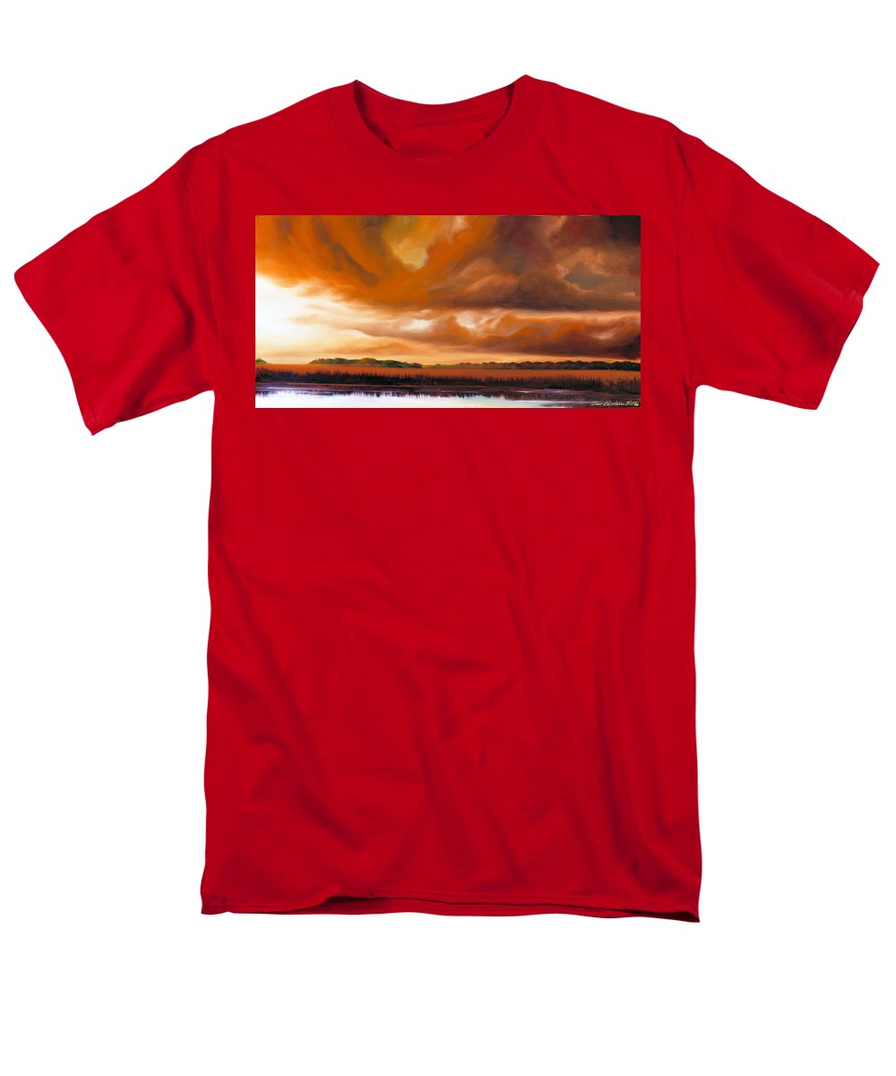 Clouds Men's T-Shirt (Regular Fit) featuring the painting Jetties On The Shore by James Christopher Hill