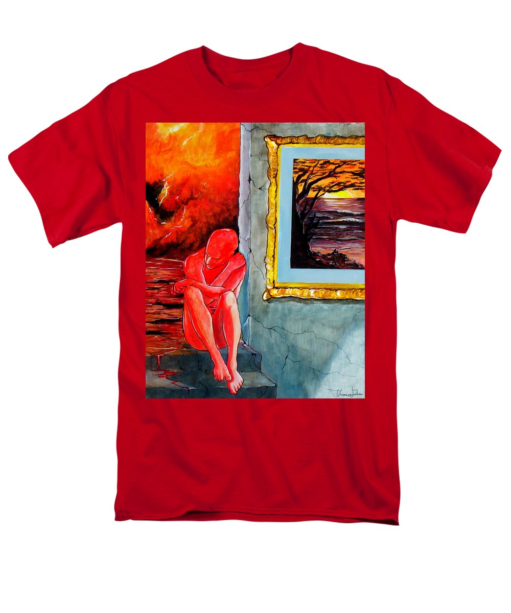 War Sunset Bombs Explosion Wait Loneliness Frustration Men's T-Shirt (Regular Fit) featuring the painting Memoirs Of A Bloody Sunset by Veronica Jackson