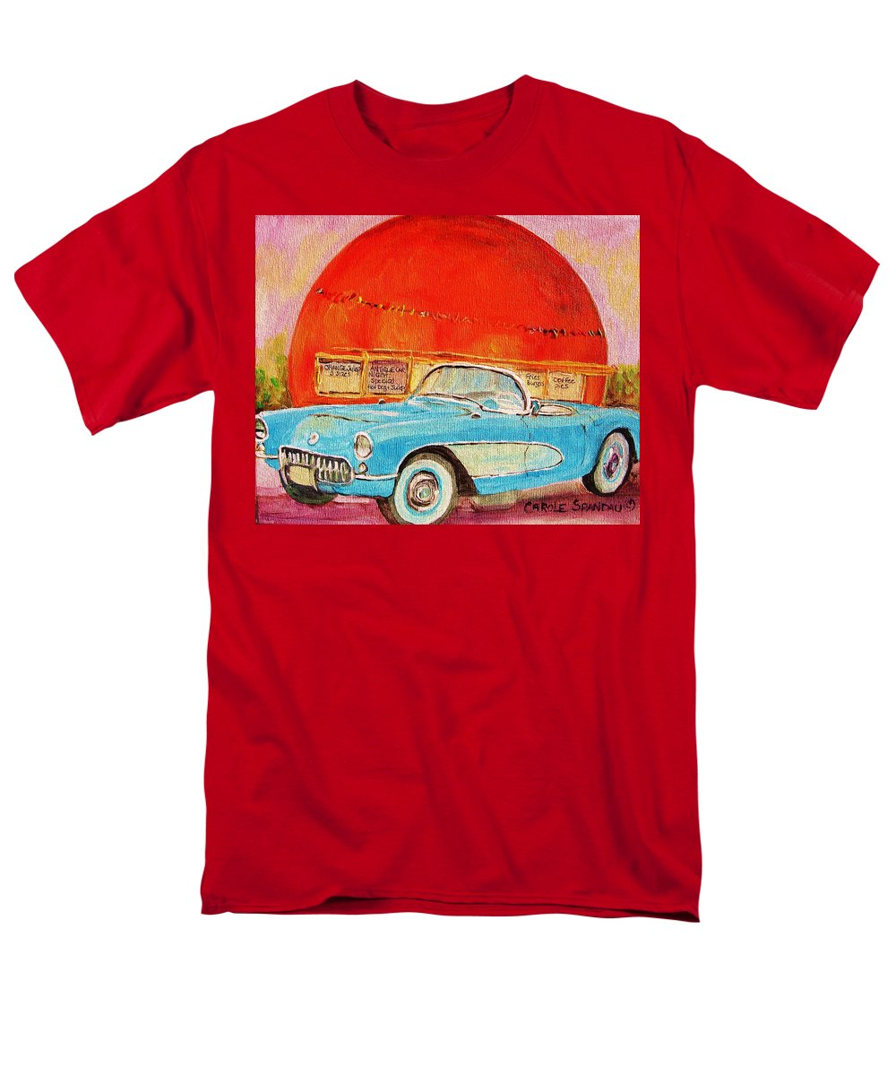 Montreal Men's T-Shirt (Regular Fit) featuring the painting My Blue Corvette at the Orange Julep by Carole Spandau