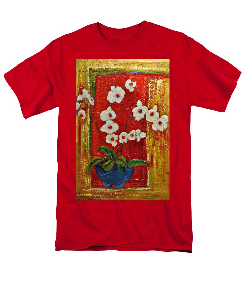 Orchids Men's T-Shirt (Regular Fit) featuring the painting Ode to Orchids by Ginger Concepcion