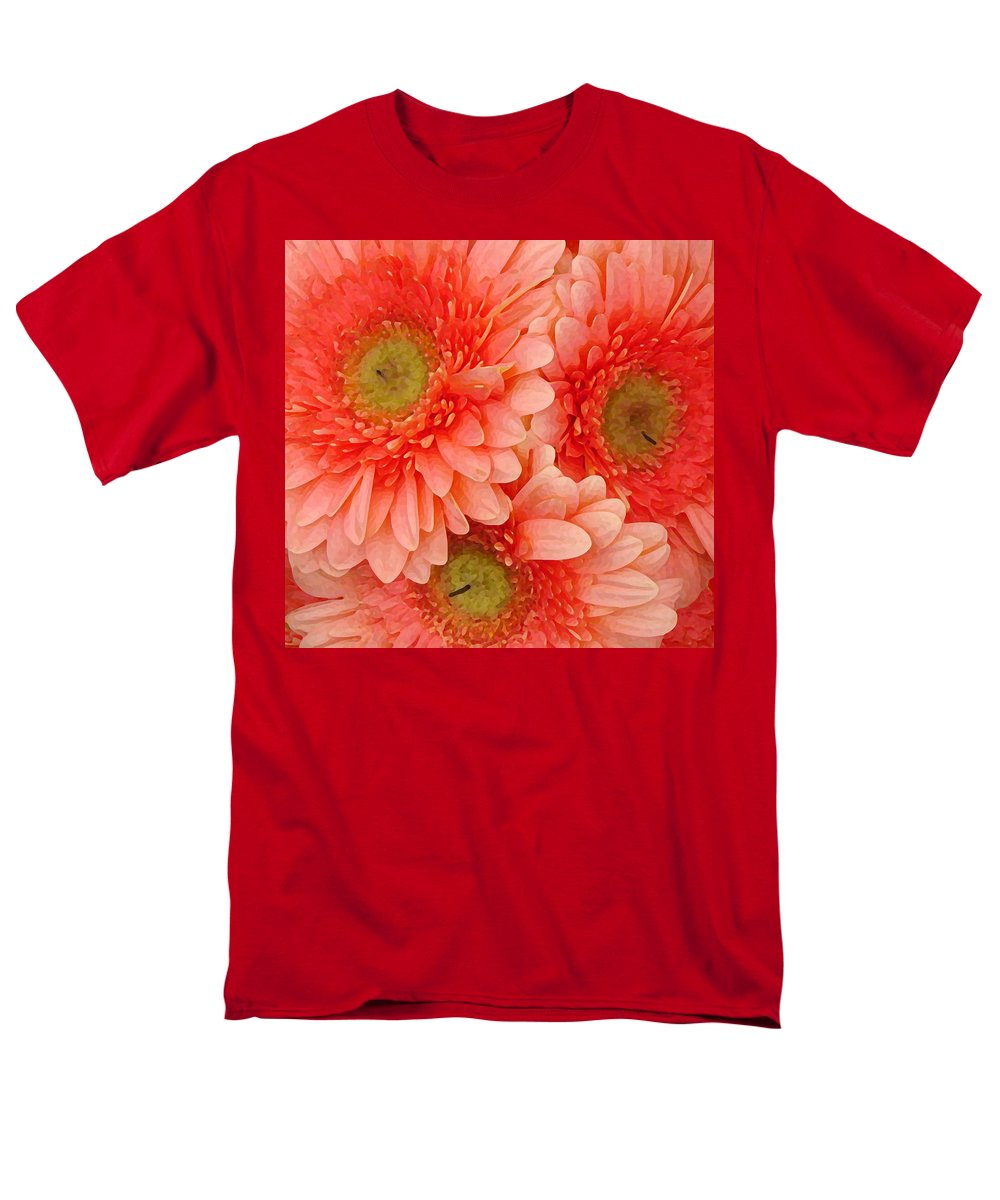 Floral Men's T-Shirt (Regular Fit) featuring the painting Peach Gerbers by Amy Vangsgard