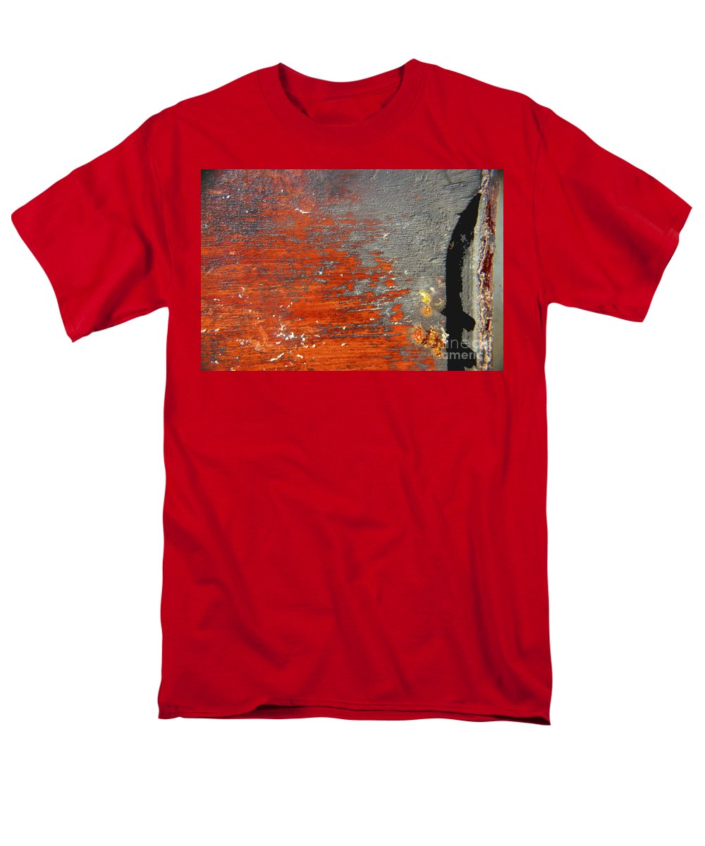 Red Men's T-Shirt (Regular Fit) featuring the photograph Red and grey abstract by Hana Shalom