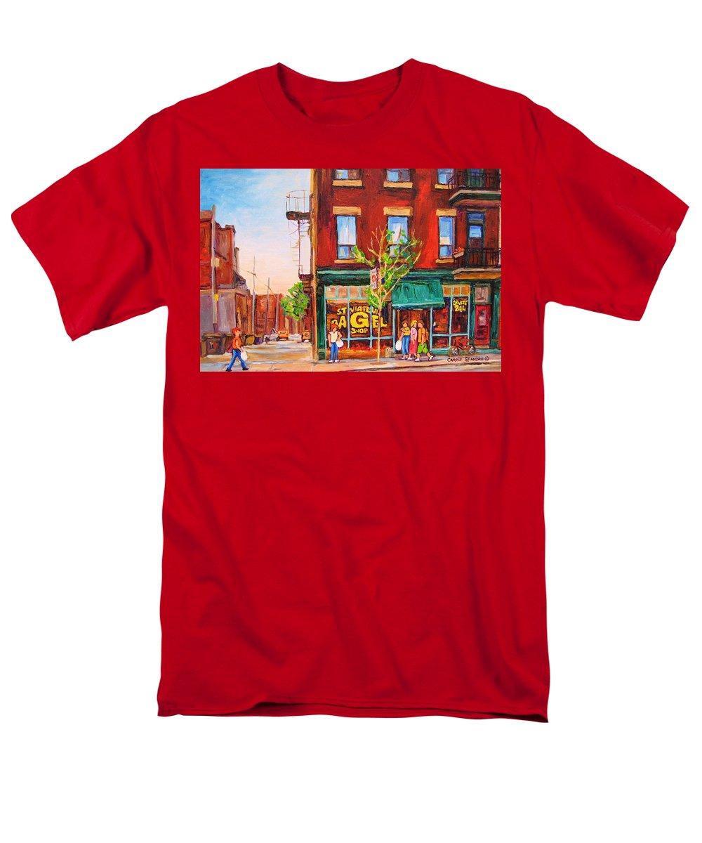Montreal Men's T-Shirt (Regular Fit) featuring the painting Saint Viateur Bagel by Carole Spandau