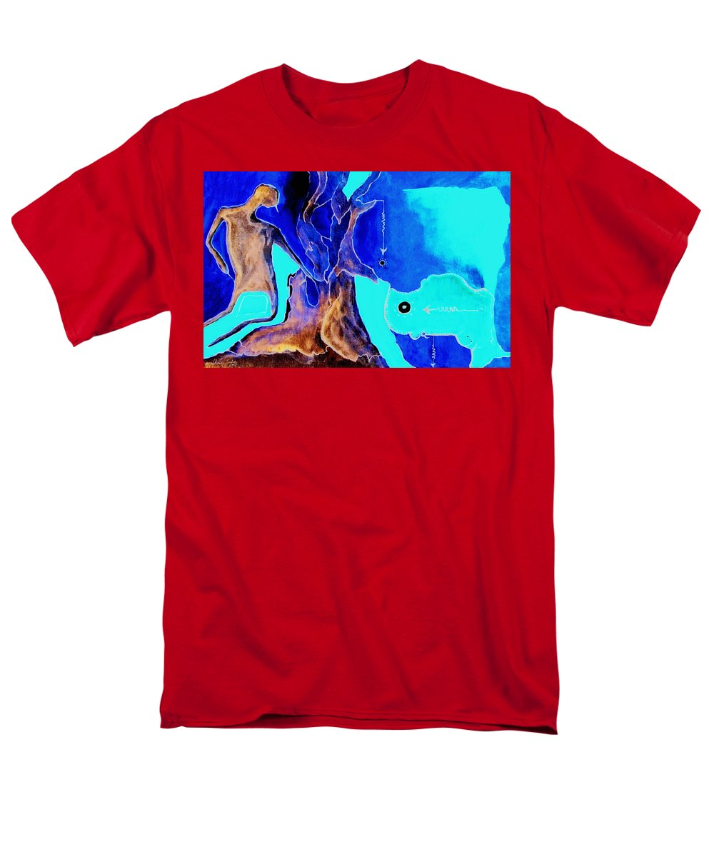 Game Direction Abstract Red Man Men's T-Shirt (Regular Fit) featuring the painting Sophogame by Veronica Jackson