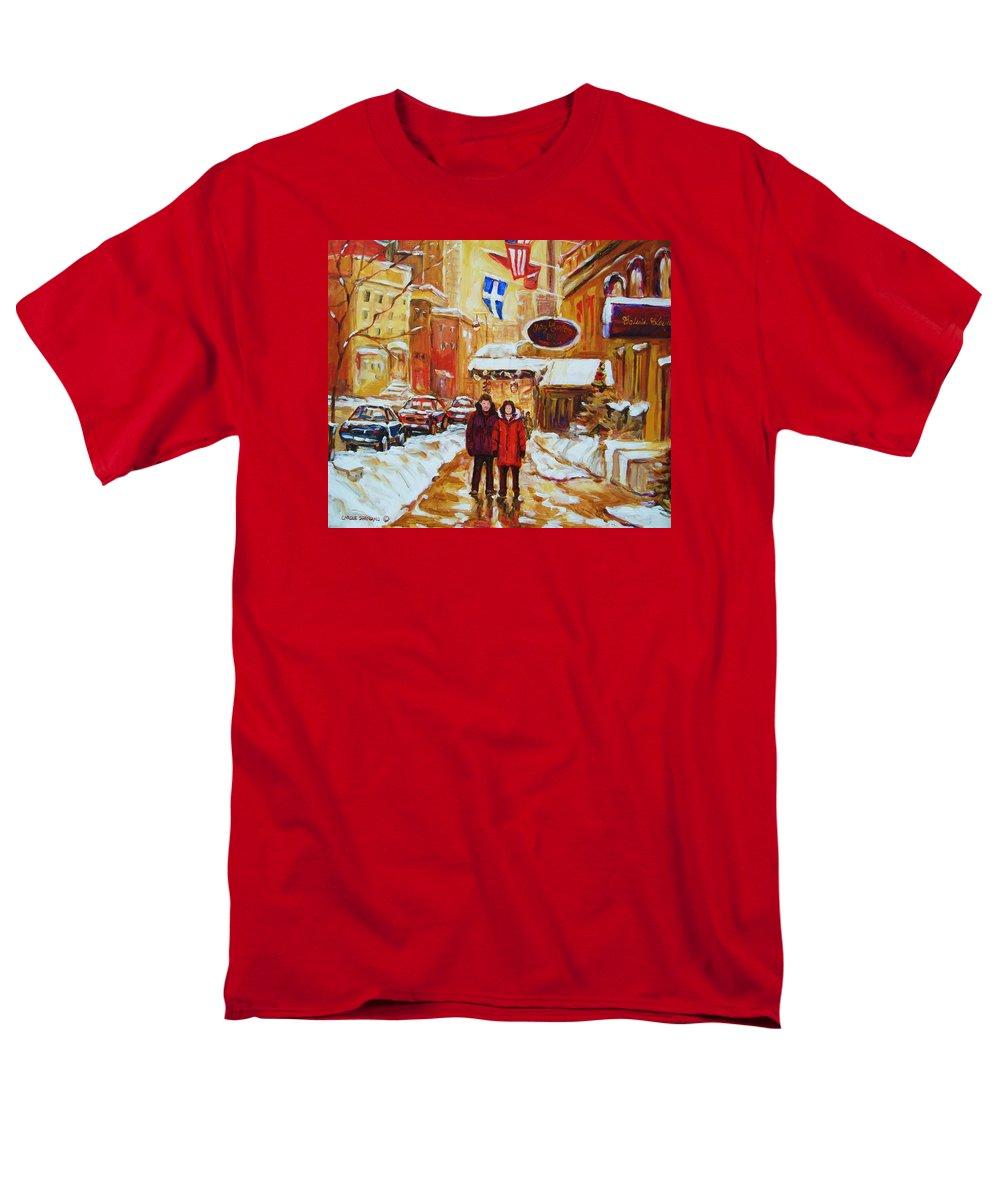 Streetscene Men's T-Shirt (Regular Fit) featuring the painting The Ritz Carlton by Carole Spandau