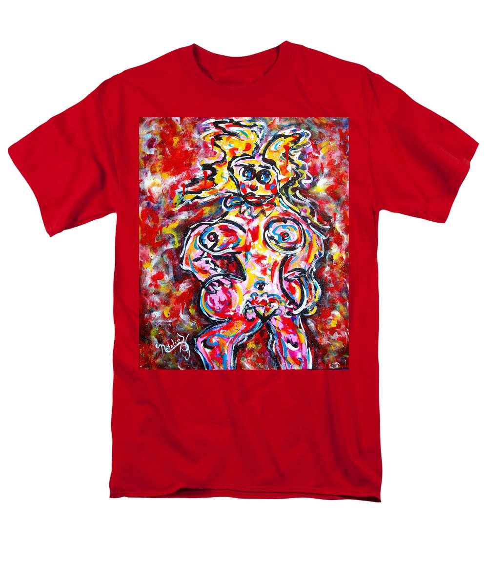 Abstracts Men's T-Shirt (Regular Fit) featuring the painting What Are You Looking At by Natalie Holland