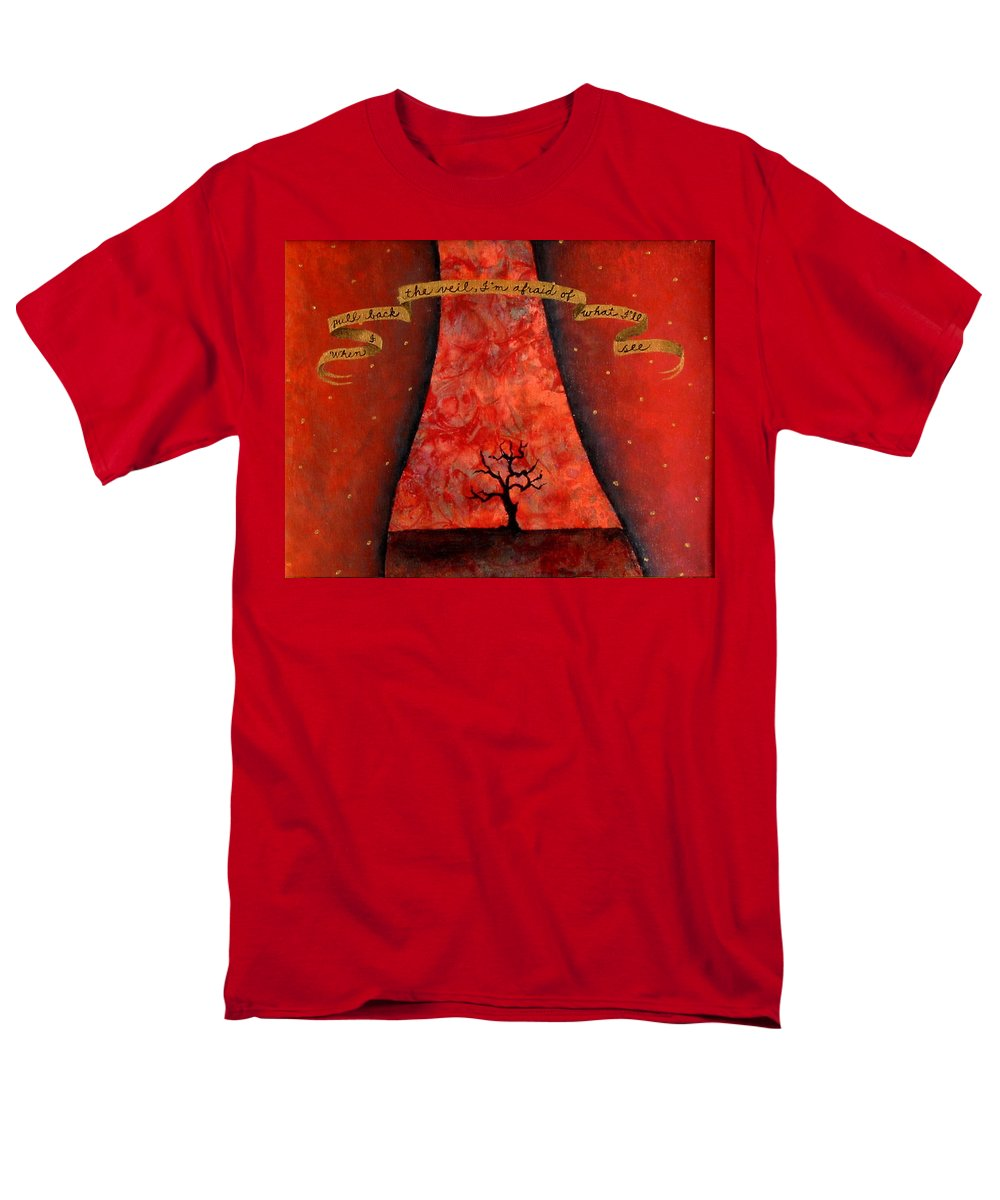 Landscape Men's T-Shirt (Regular Fit) featuring the painting When I Pull Back The Veil by Pauline Lim
