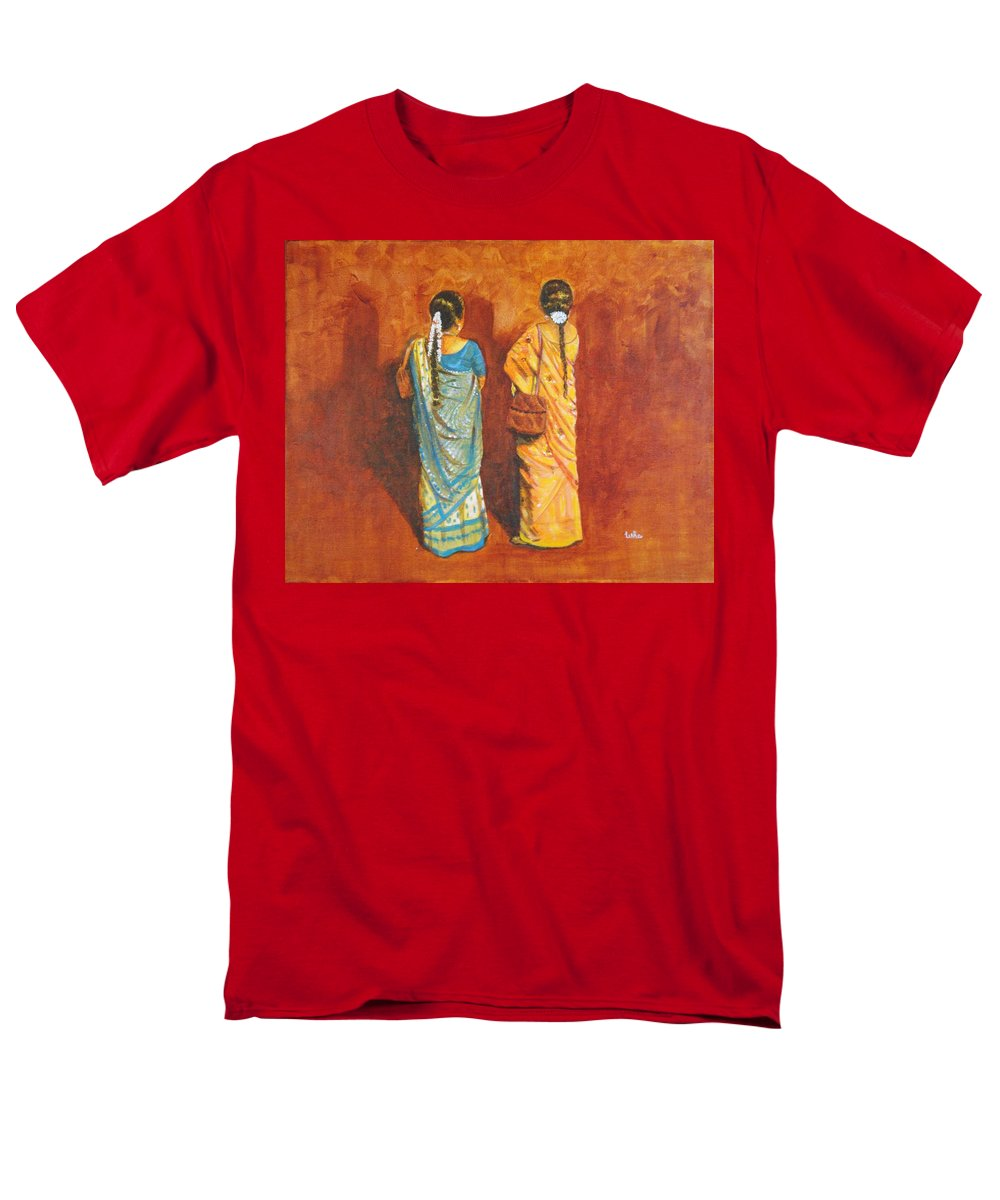 Women Men's T-Shirt (Regular Fit) featuring the painting Women in sarees by Usha Shantharam