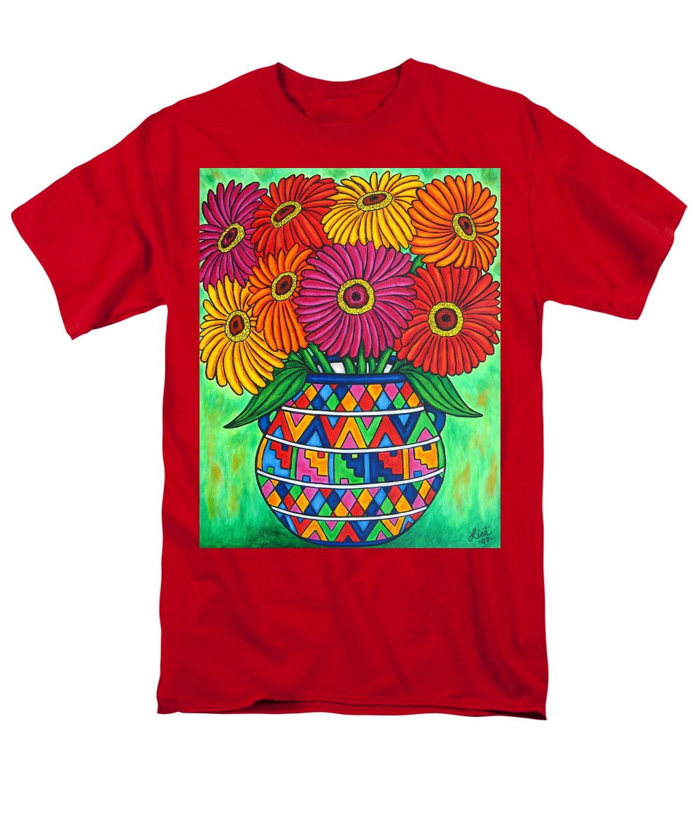 Zinnia Men's T-Shirt (Regular Fit) featuring the painting Zinnia Fiesta by Lisa Lorenz