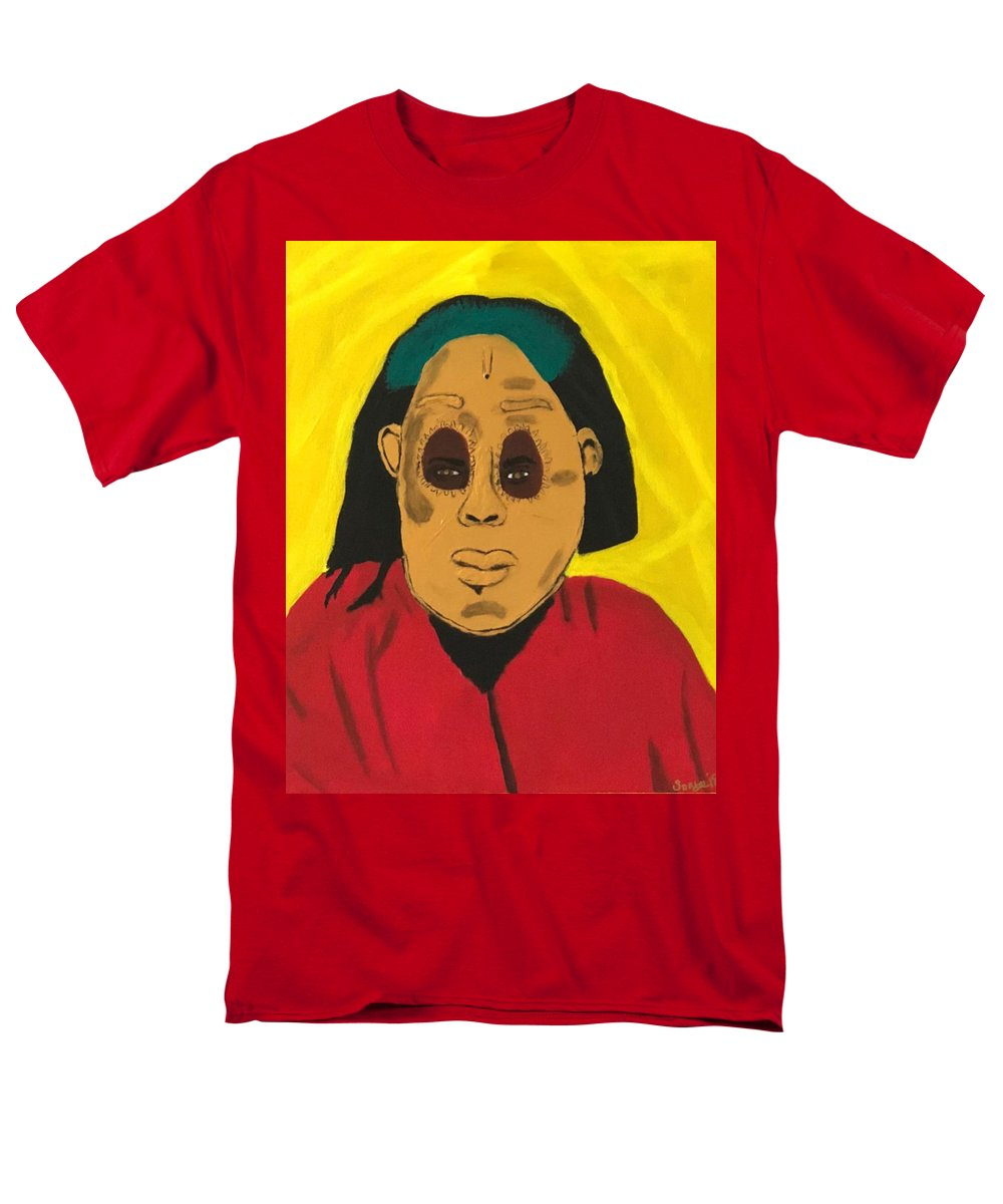 African Men's T-Shirt (Regular Fit) featuring the painting Ancestral Spirit by Sonye Locksmith