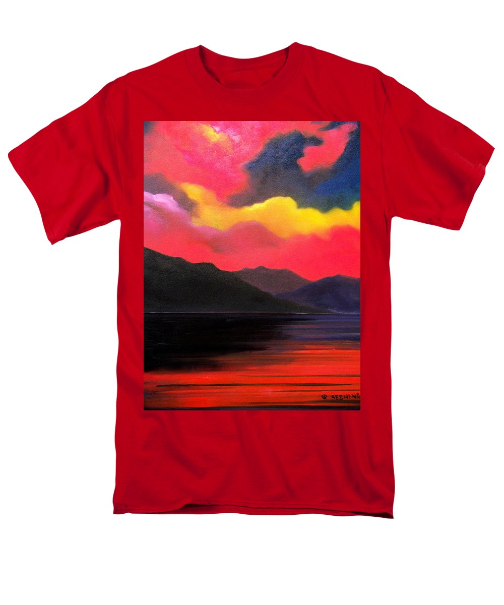 Surreal Men's T-Shirt (Regular Fit) featuring the painting Crimson clouds by Sergey Bezhinets