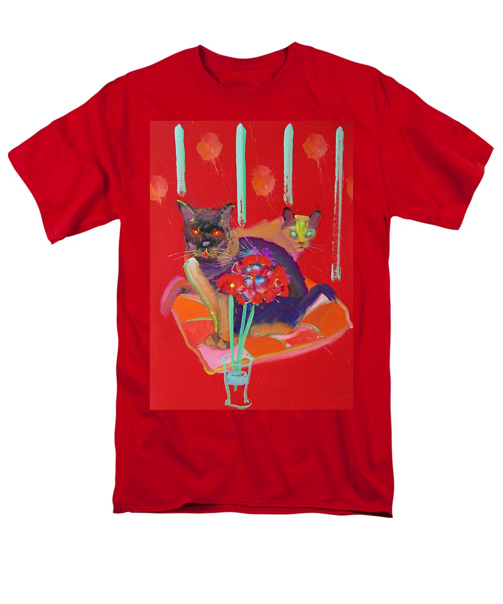 Burmese Cat Men's T-Shirt (Regular Fit) featuring the painting Symphony In Red Two by Charles Stuart