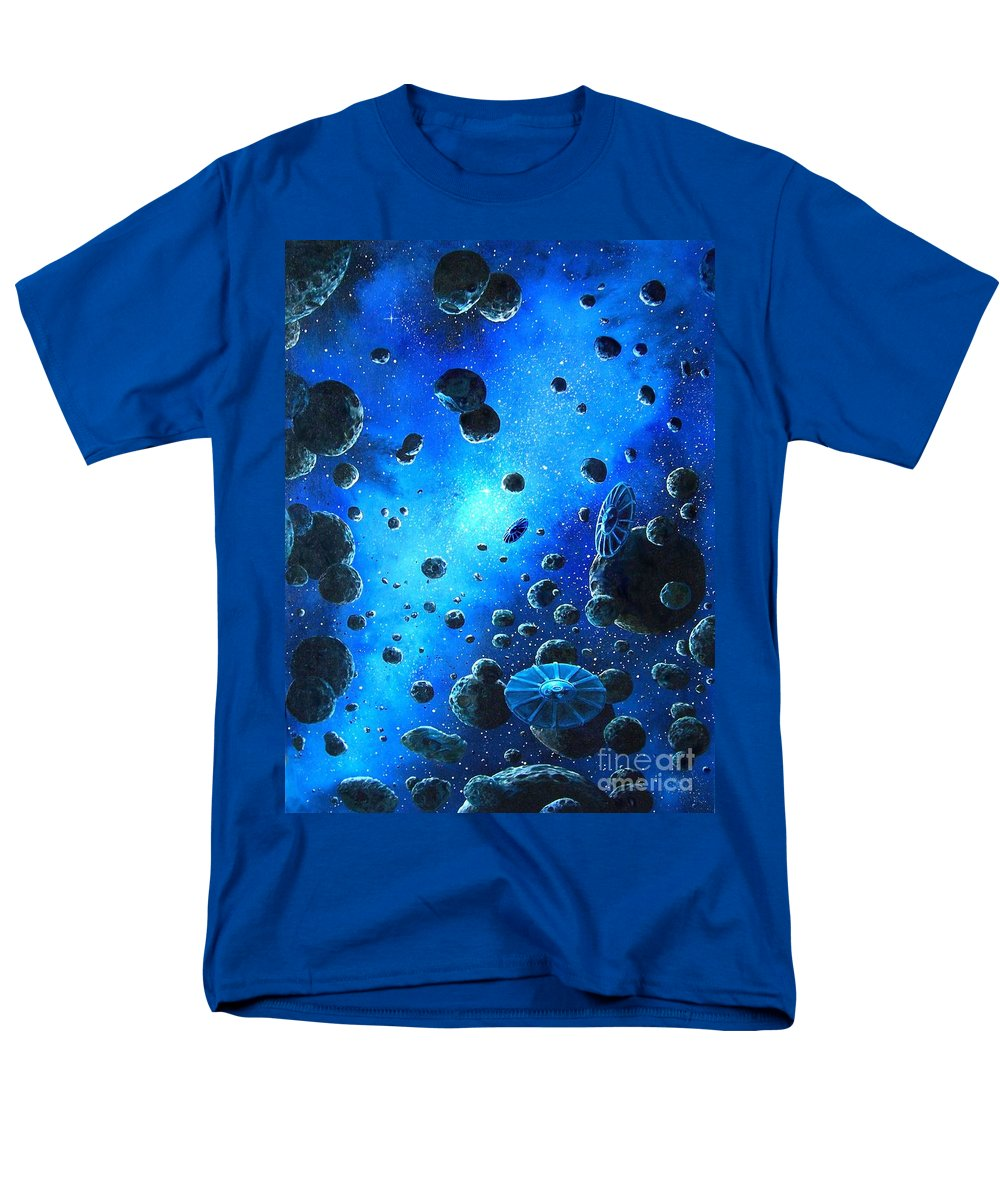 (space Ships) Men's T-Shirt (Regular Fit) featuring the painting Alien Flying Saucers by Murphy Elliott
