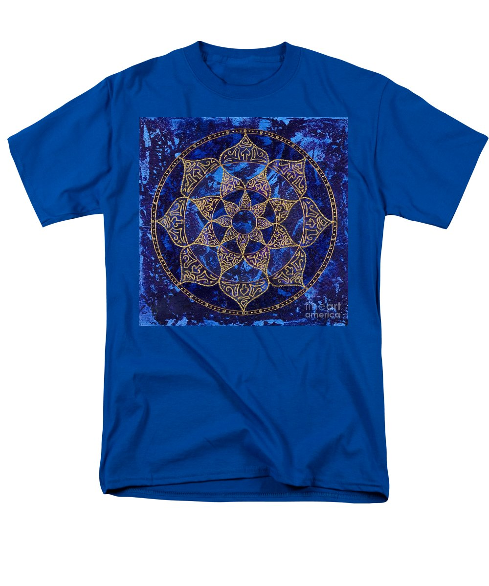 Mandala Men's T-Shirt (Regular Fit) featuring the painting Cosmic Blue Lotus by Charlotte Backman