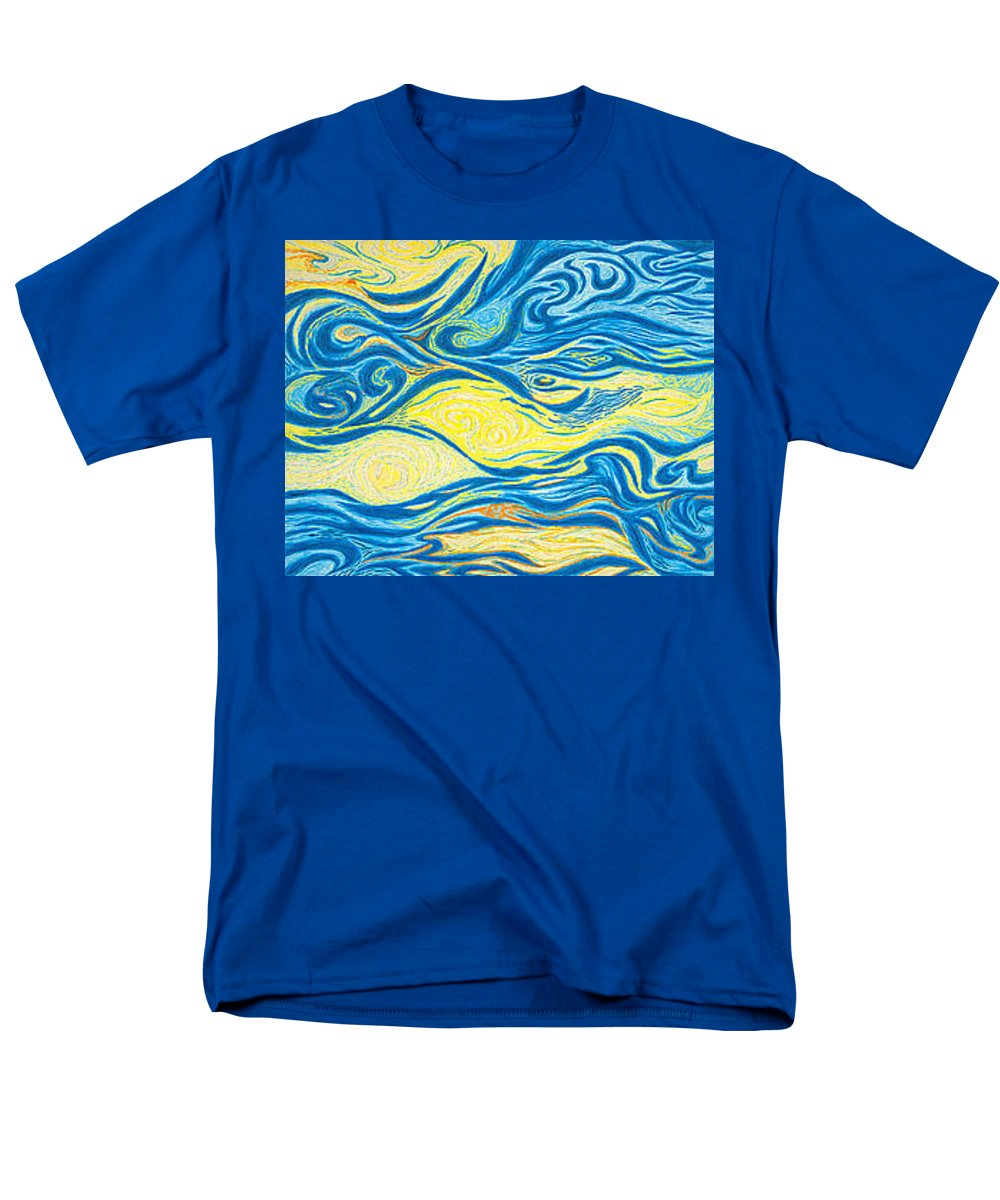 Art Men's T-Shirt (Regular Fit) featuring the drawing Abstract Art GOOD MORNING Contemporary Modern Artwork Giclee Fine Art Prints Life Cycle Swirls Water by Patti Baslee