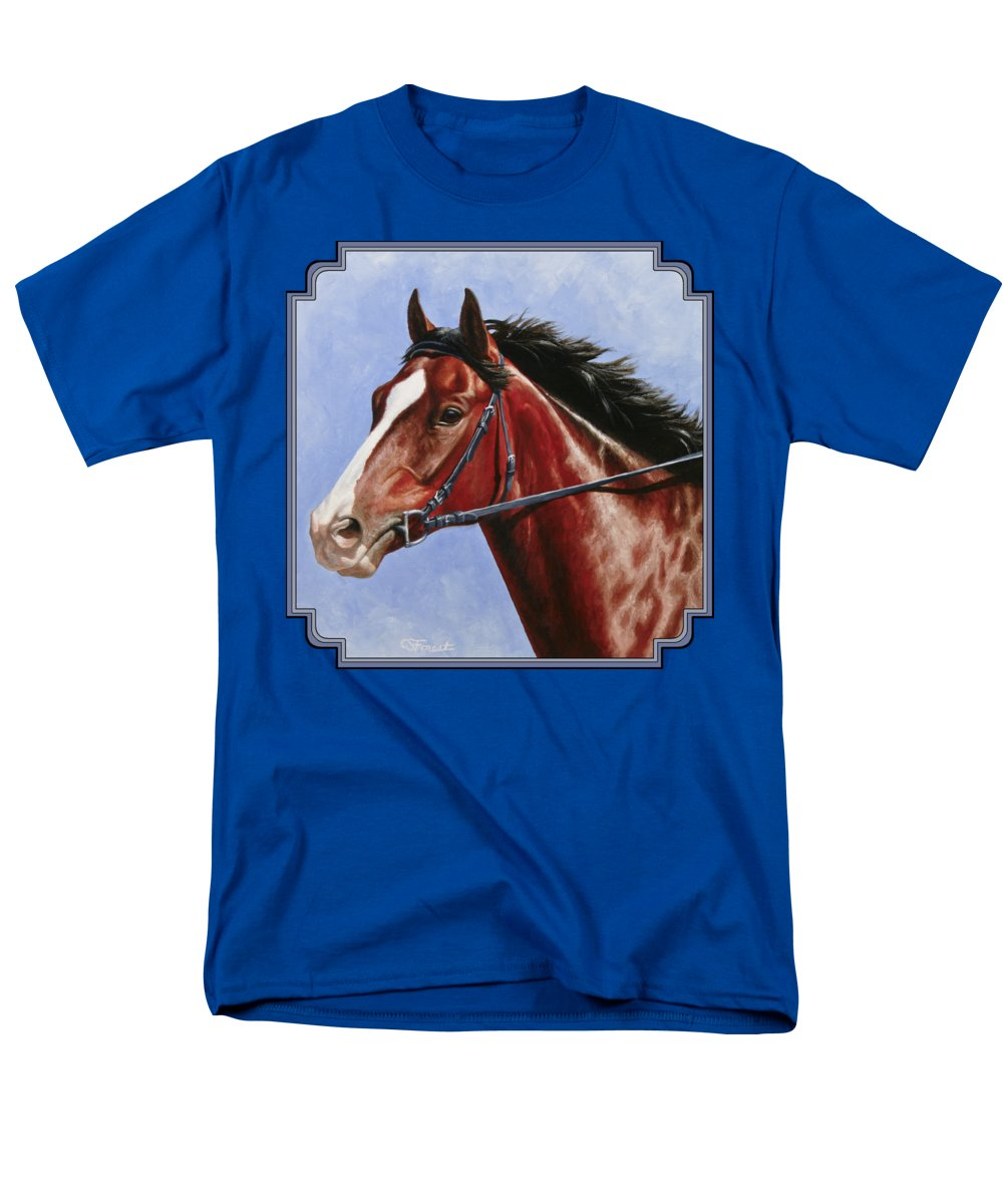 Horse Men's T-Shirt (Regular Fit) featuring the painting Horse Painting - Determination by Crista Forest