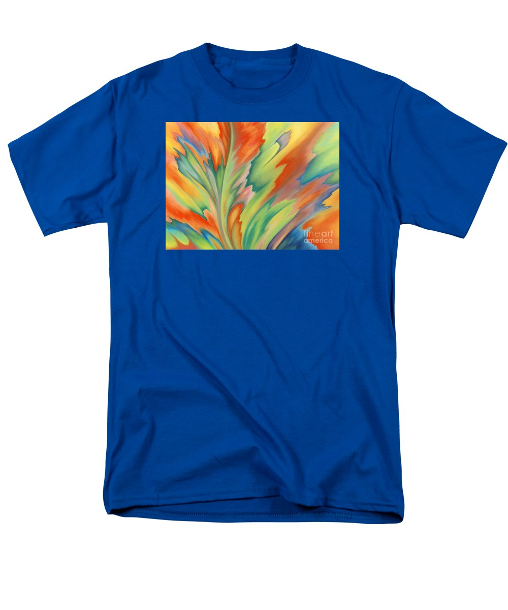 Abstract Men's T-Shirt (Regular Fit) featuring the painting Autumn Flame by Lucy Arnold