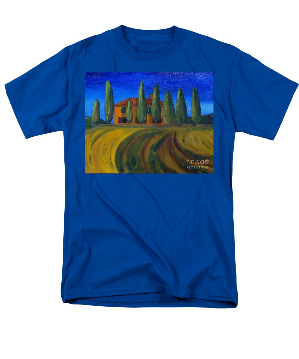 Tuscany Men's T-Shirt (Regular Fit) featuring the painting Classic Tuscan Sunset by Laurie Morgan