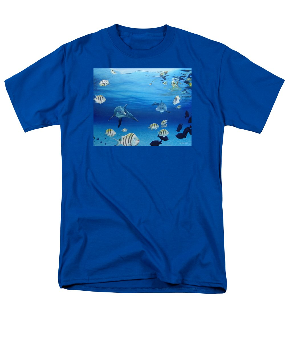 Seascape Men's T-Shirt (Regular Fit) featuring the painting Delphinus by Angel Ortiz