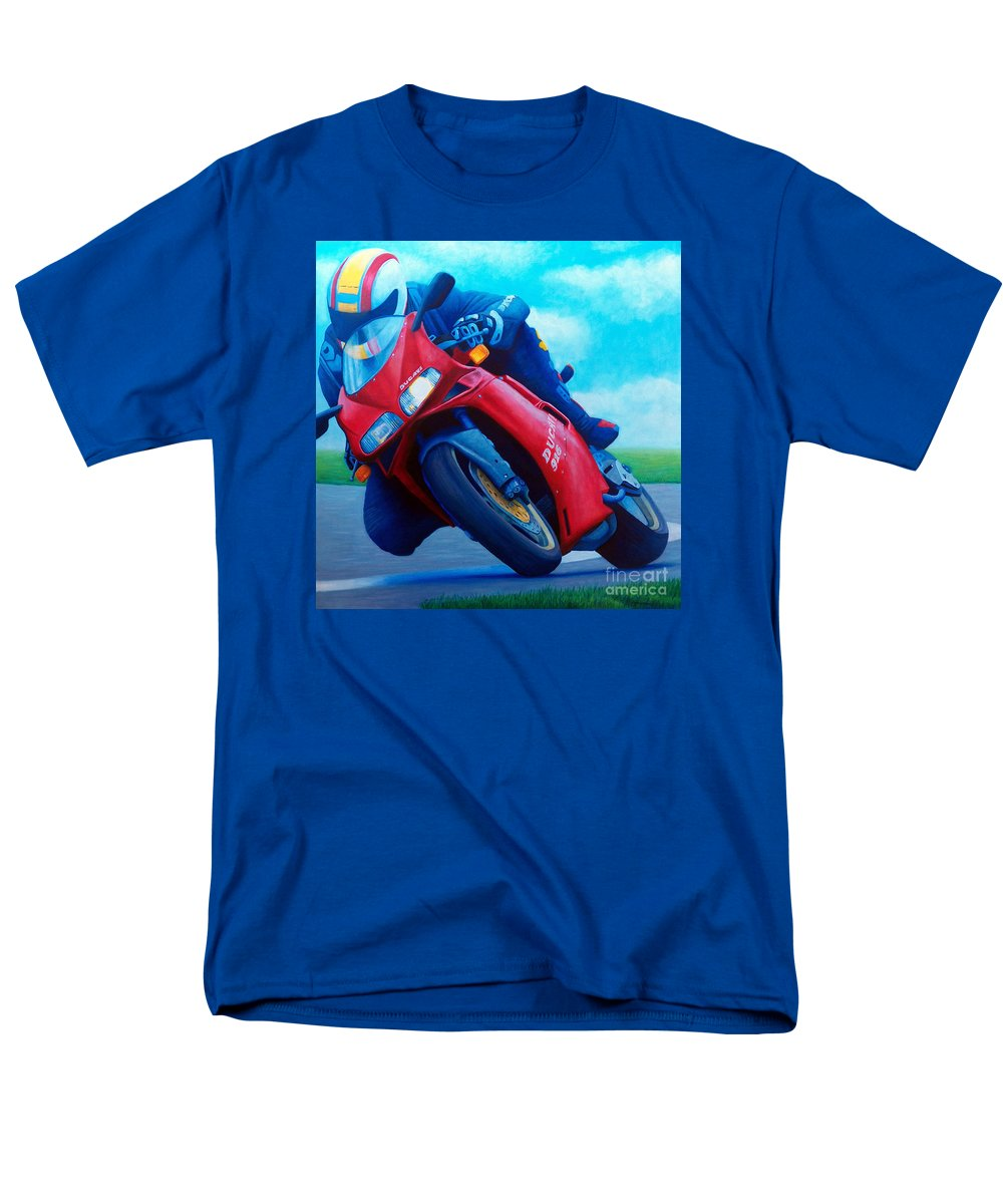 Motorcycle Men's T-Shirt (Regular Fit) featuring the painting Ducati 916 by Brian Commerford
