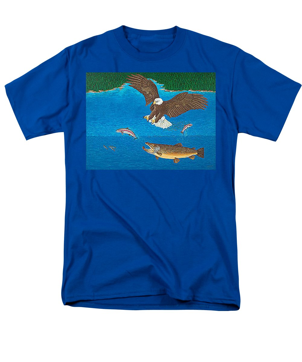 Art Print Prints Giclee Canvas Framed Brown Trout Eagle Lake Mountain Forest Nature Wildlife Wall Men's T-Shirt (Regular Fit) featuring the painting Eagle Trophy Brown Trout Rainbow Trout Art Print Blue Mountain Lake Artwork Giclee Birds Wildlife by Patti Baslee