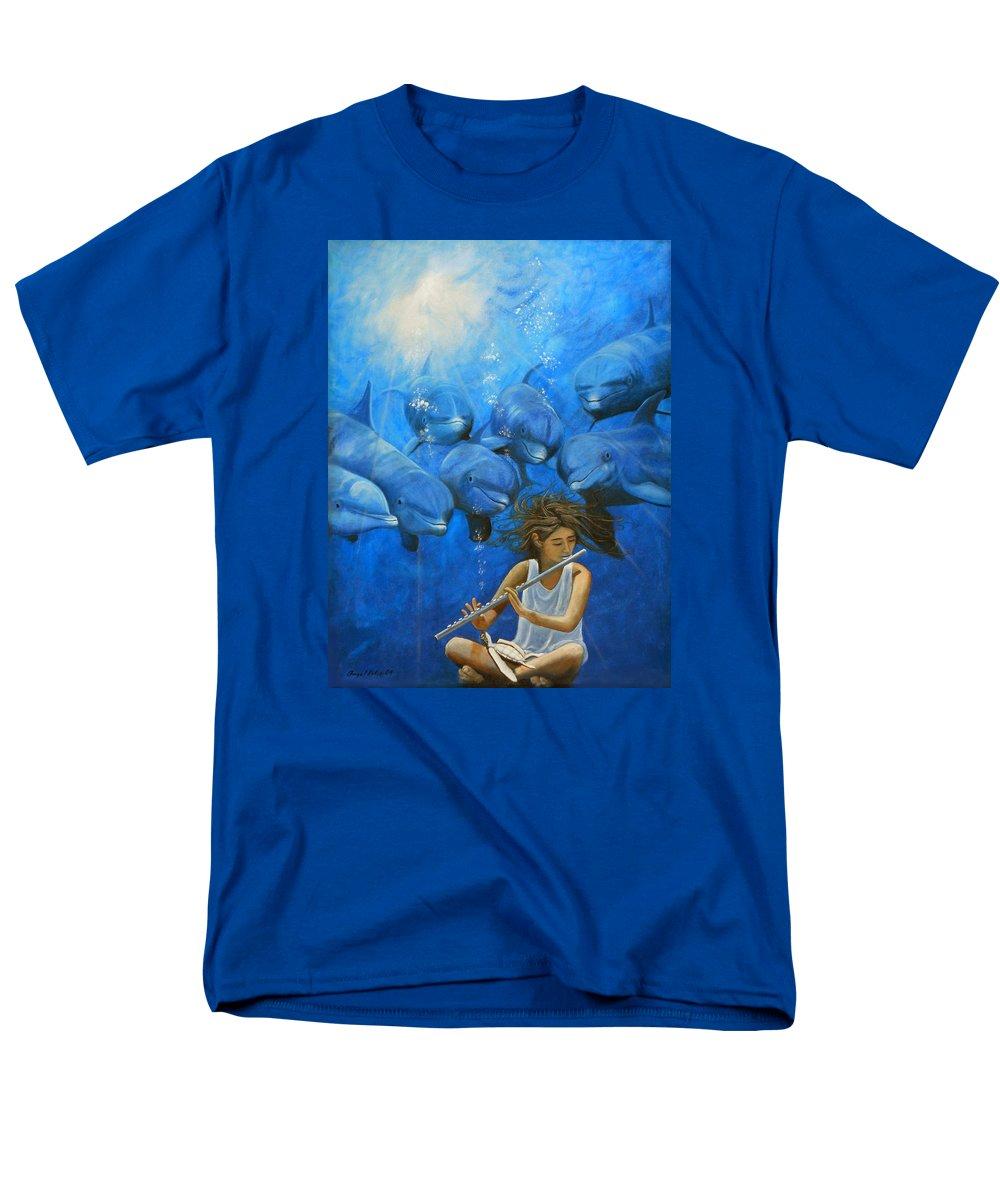 Flautista Men's T-Shirt (Regular Fit) featuring the painting La flautista by Angel Ortiz