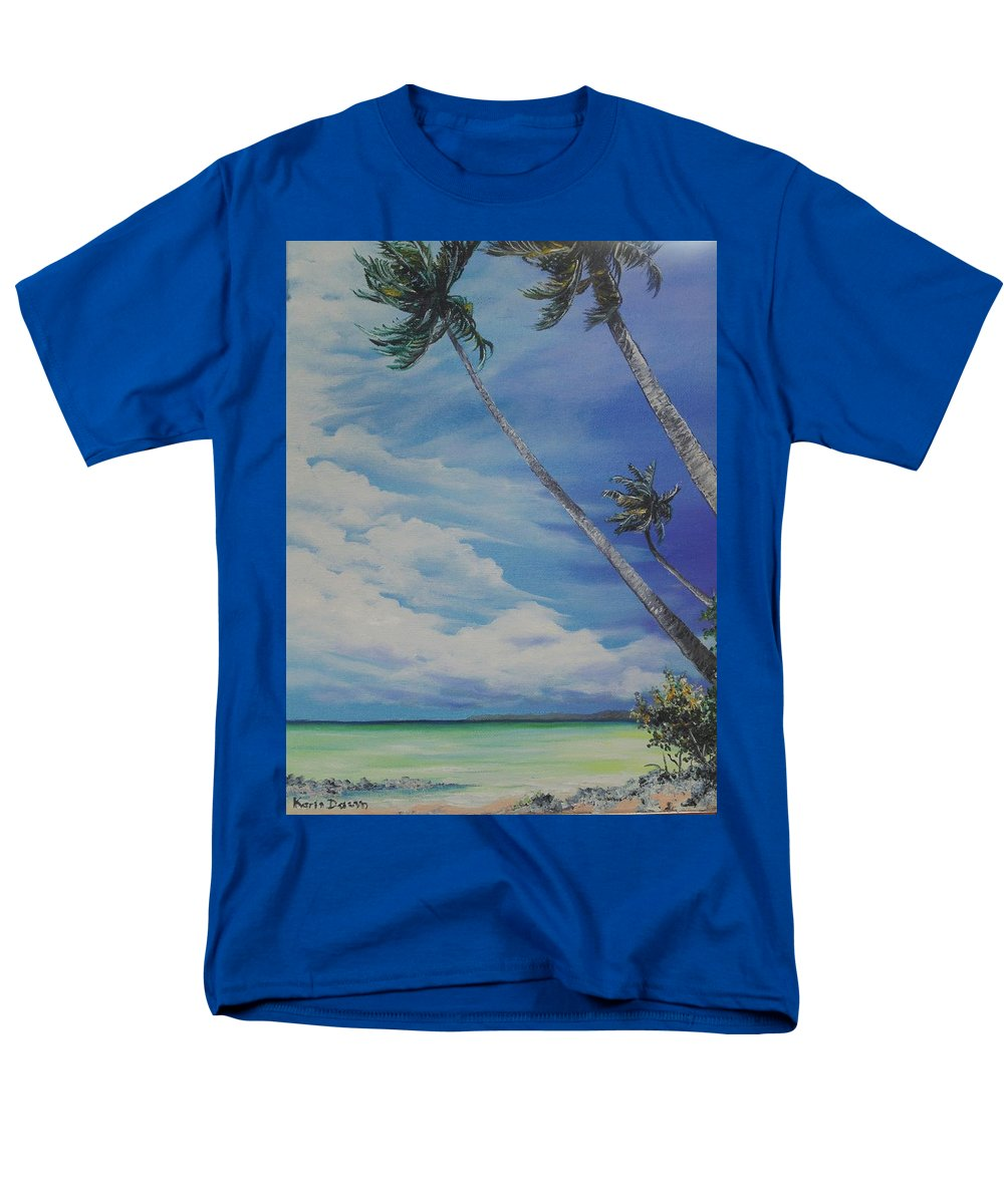 Trinidad And Tobago Seascape Men's T-Shirt (Regular Fit) featuring the painting Nylon Pool Tobago. by Karin Dawn Kelshall- Best
