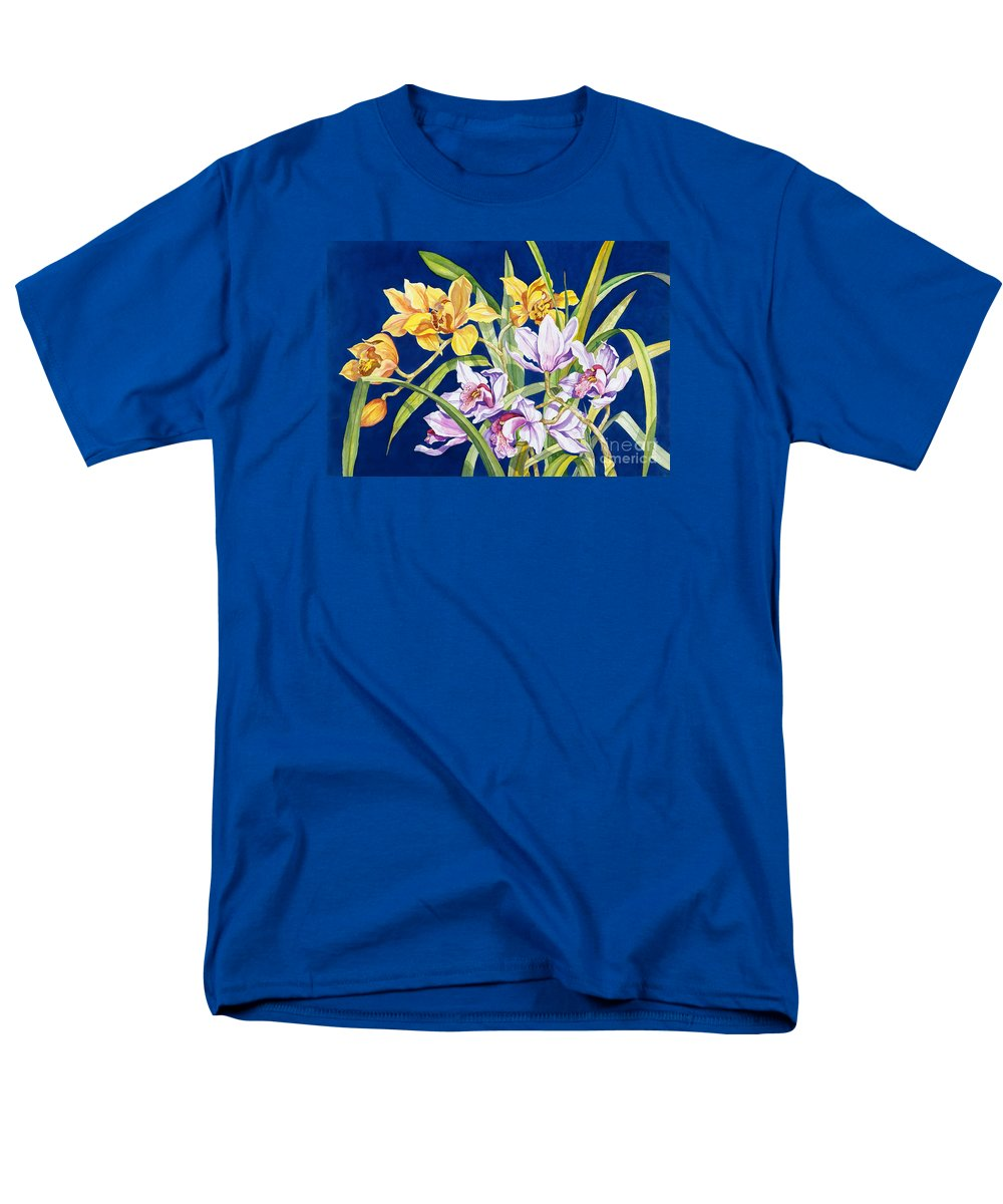Orchids Men's T-Shirt (Regular Fit) featuring the painting Orchids In Blue by Lucy Arnold