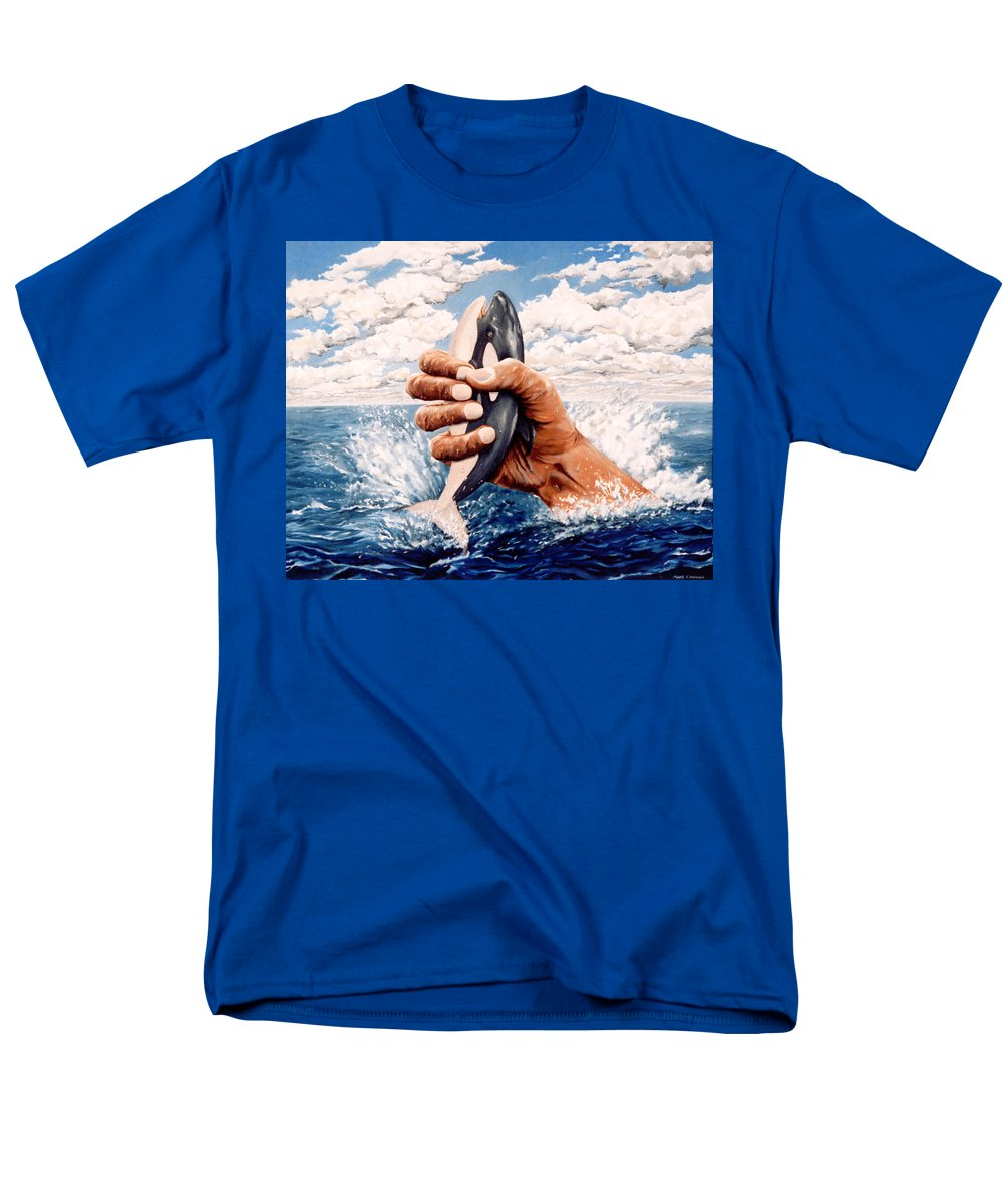 Surreal Men's T-Shirt (Regular Fit) featuring the painting Stop Whaling by Mark Cawood