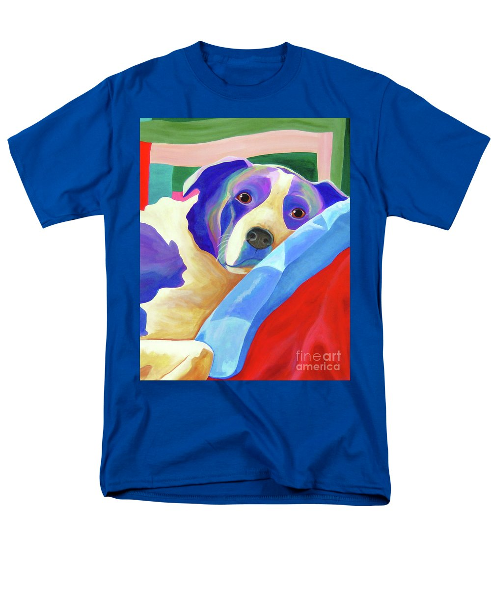 Border Collie Men's T-Shirt (Regular Fit) featuring the painting Uh Oh, They're Home by Jody Wright